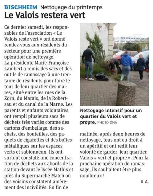 Article DNA Edition Strasbourg Nord 14 avril 2019