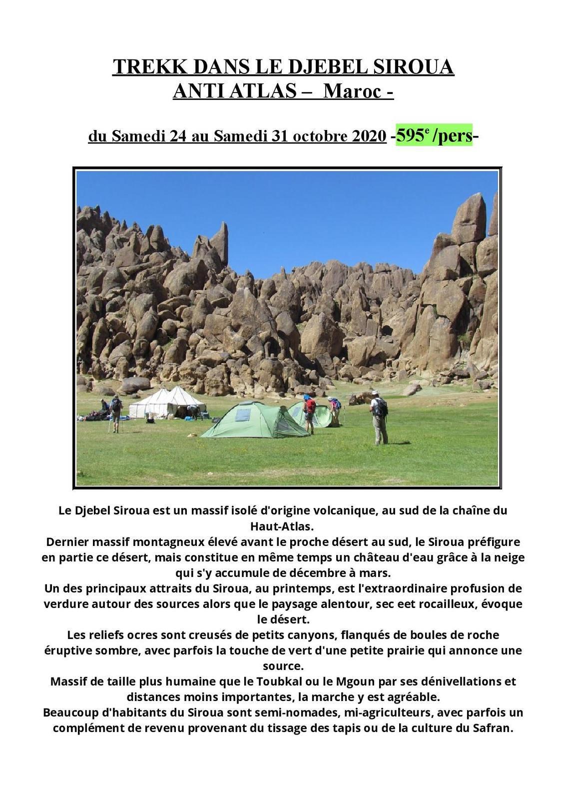 DJEBEL SIROUA - ANTI ATLAS MAROCAIN - du sam.24 au sam.31 octobre 2020 -