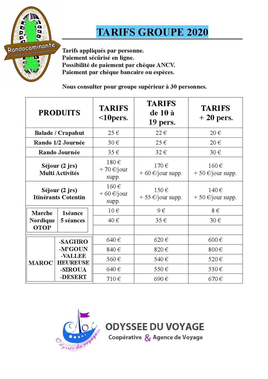 TARIFS & CONDITIONS DE VENTE