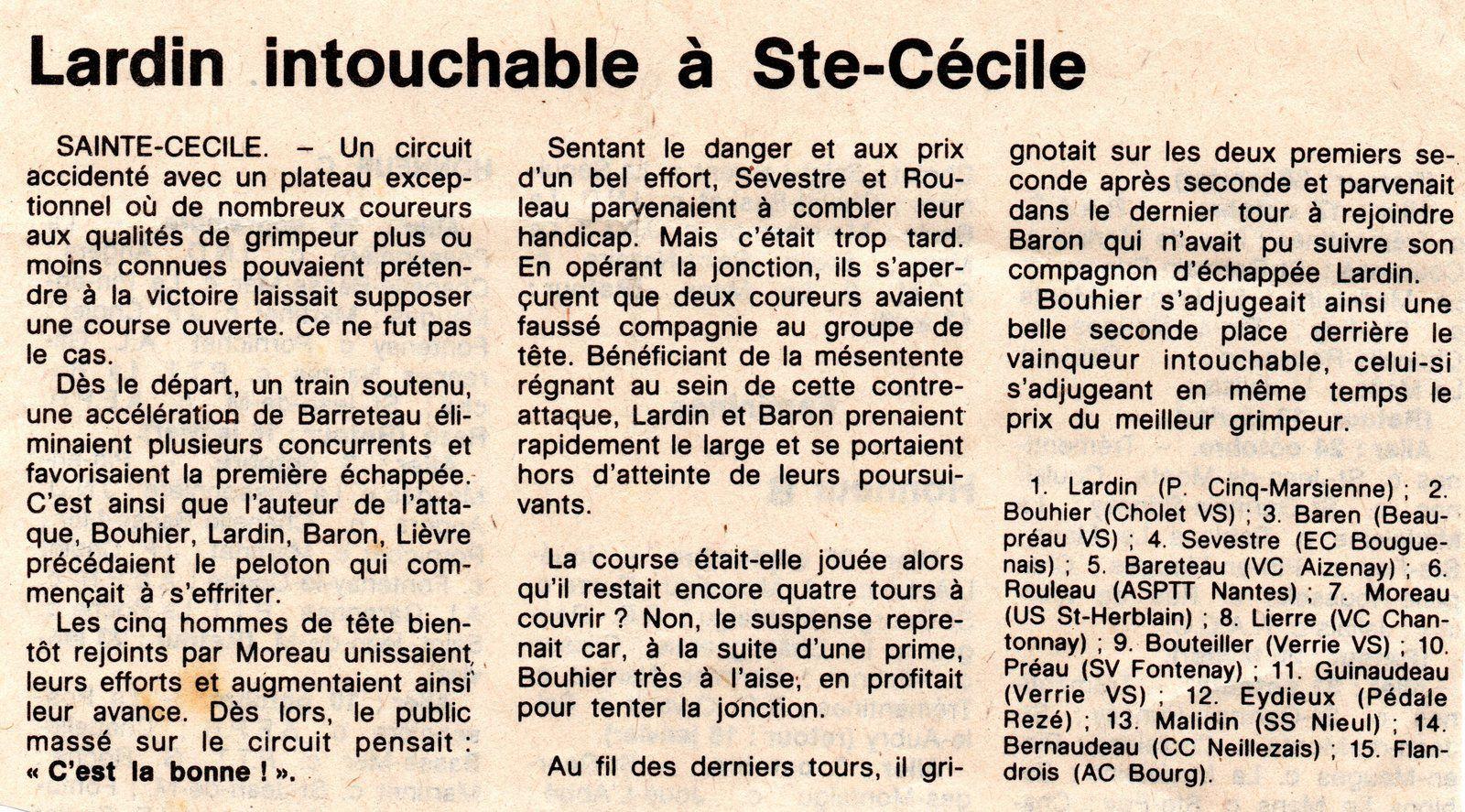 Sainte Cécile (Moulins des Bois) en 1982.