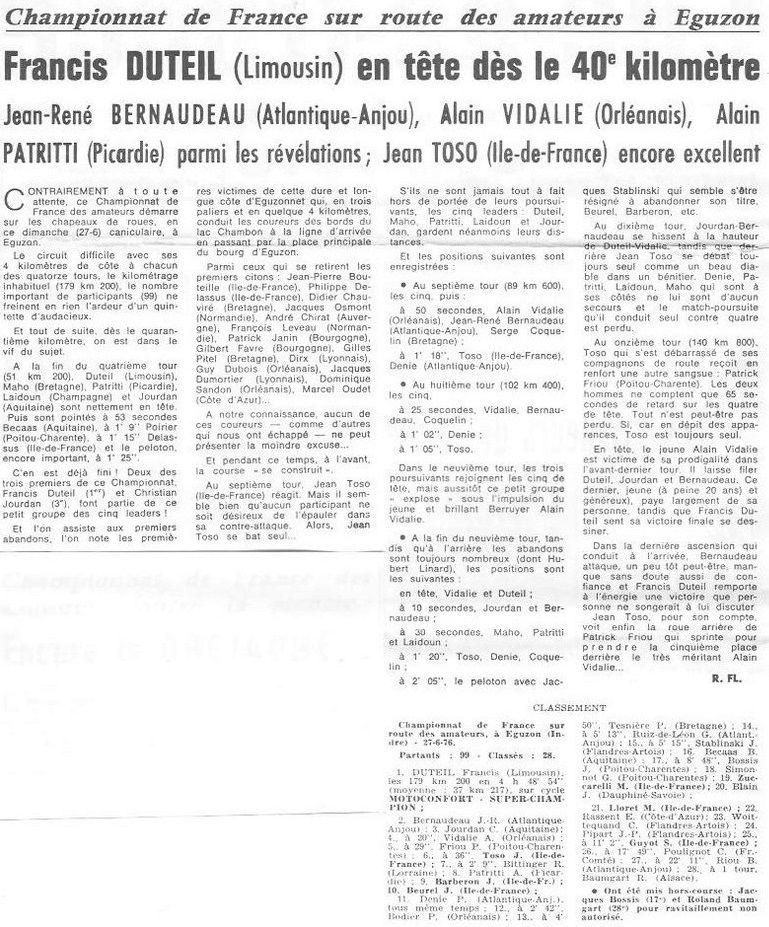 Championnat de France 1976, Francis Duteil 1er, Jean-René Bernaudeau 2ème et Christian Jourdan 3ème.