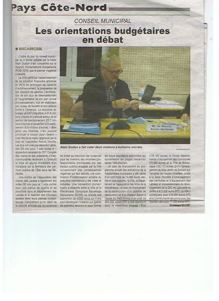 Orientation budgétaire en débat au Conseil Municipal de BISCARROSSE