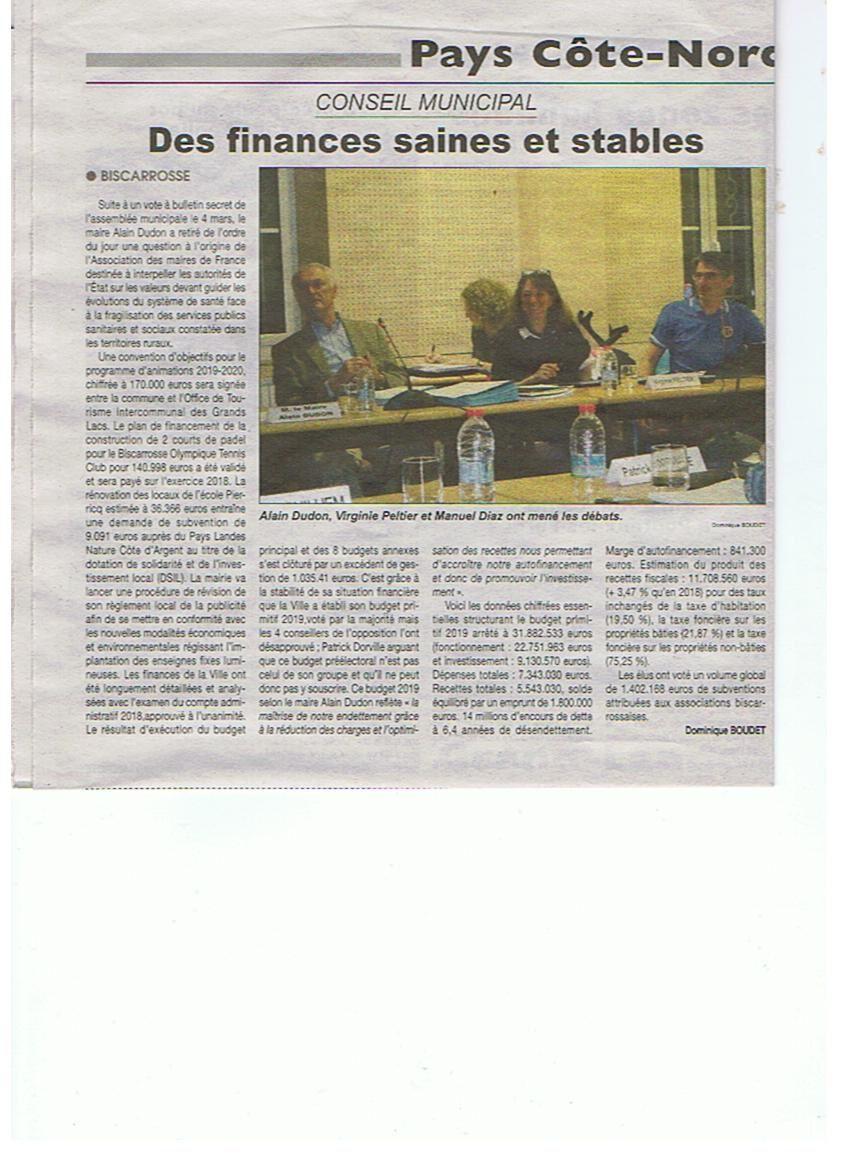 Conseil municipal de BISCARROSSE du 15 mars