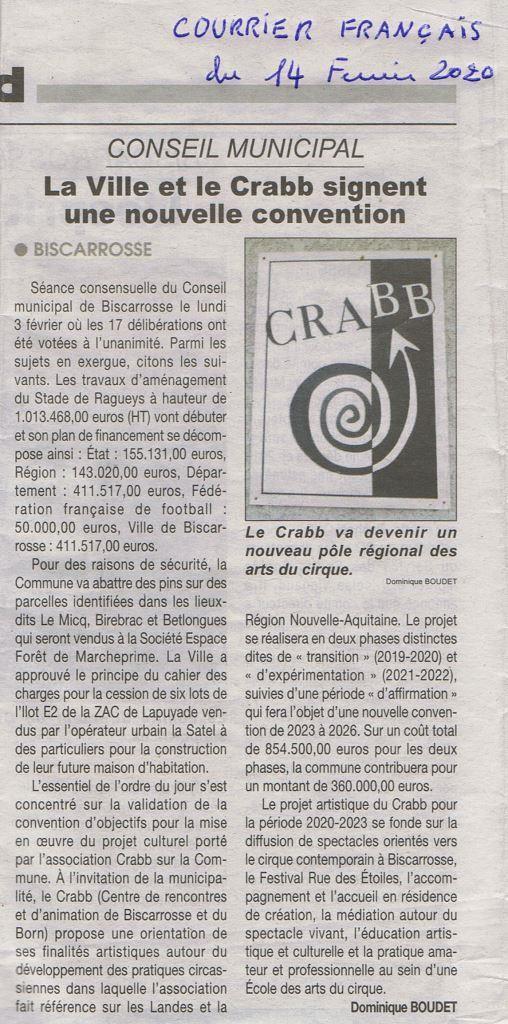 Article du Courrier Français sur le dernier conseil municipal du 3 février 2020