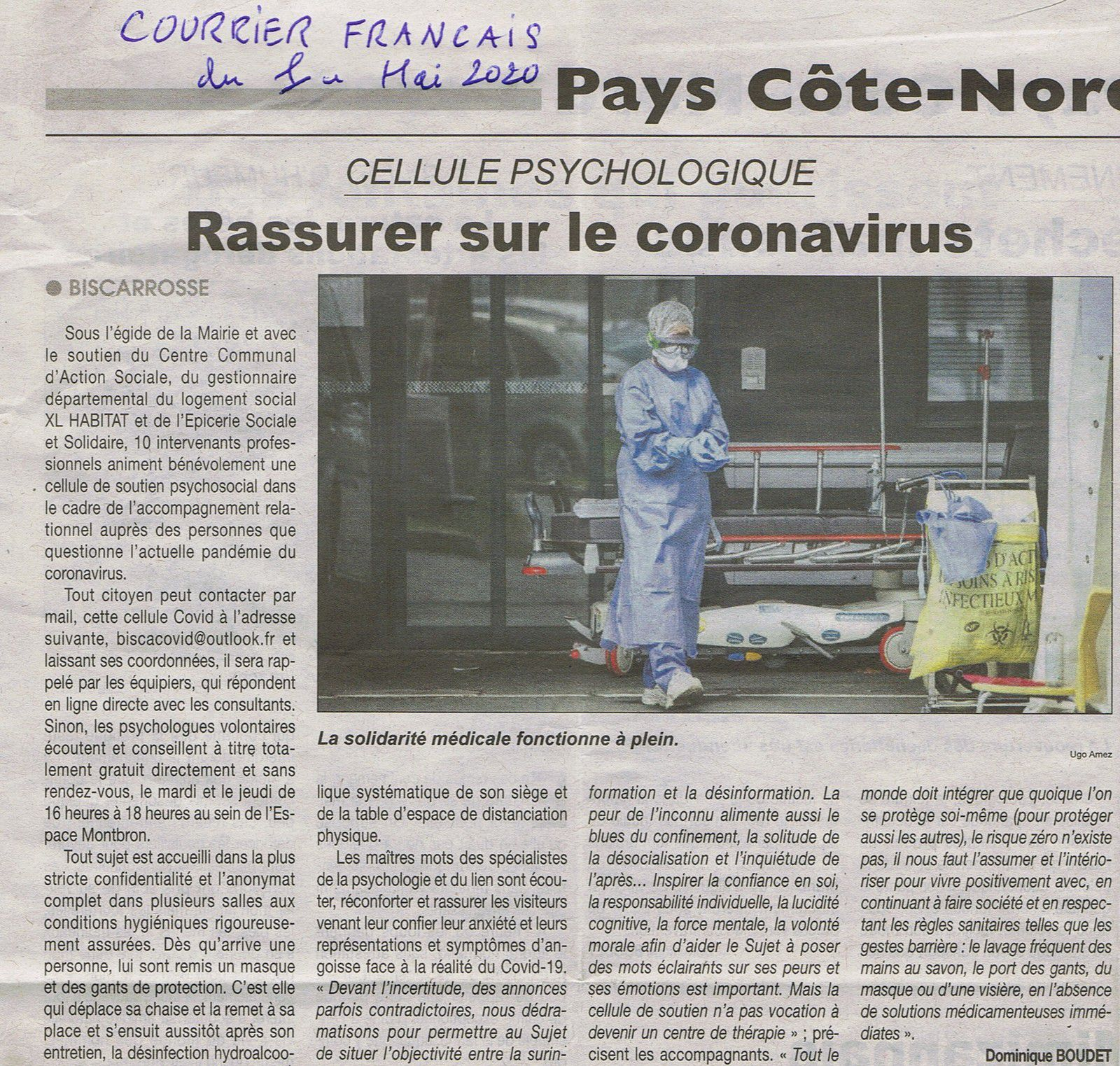 Rassurer sur le coronavirus.