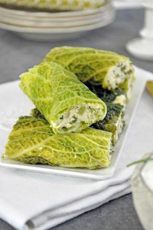 Cannelloni de chou vert et farce fine de volaille.