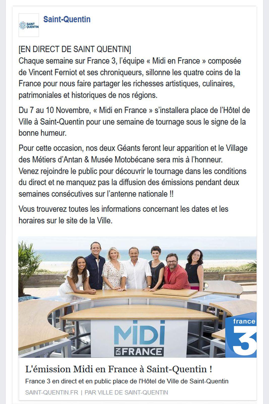"""""""Midi en France"""" bientôt à Saint-Quentin."""