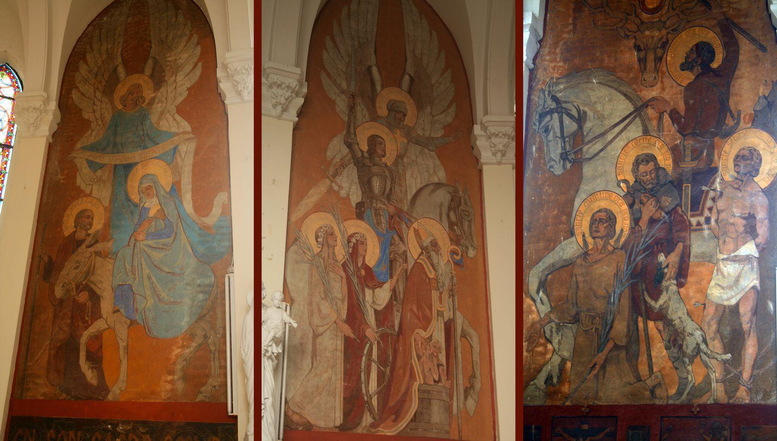 Trois des nombreuses fresques réalisées dans notre église par Emile Flamant.