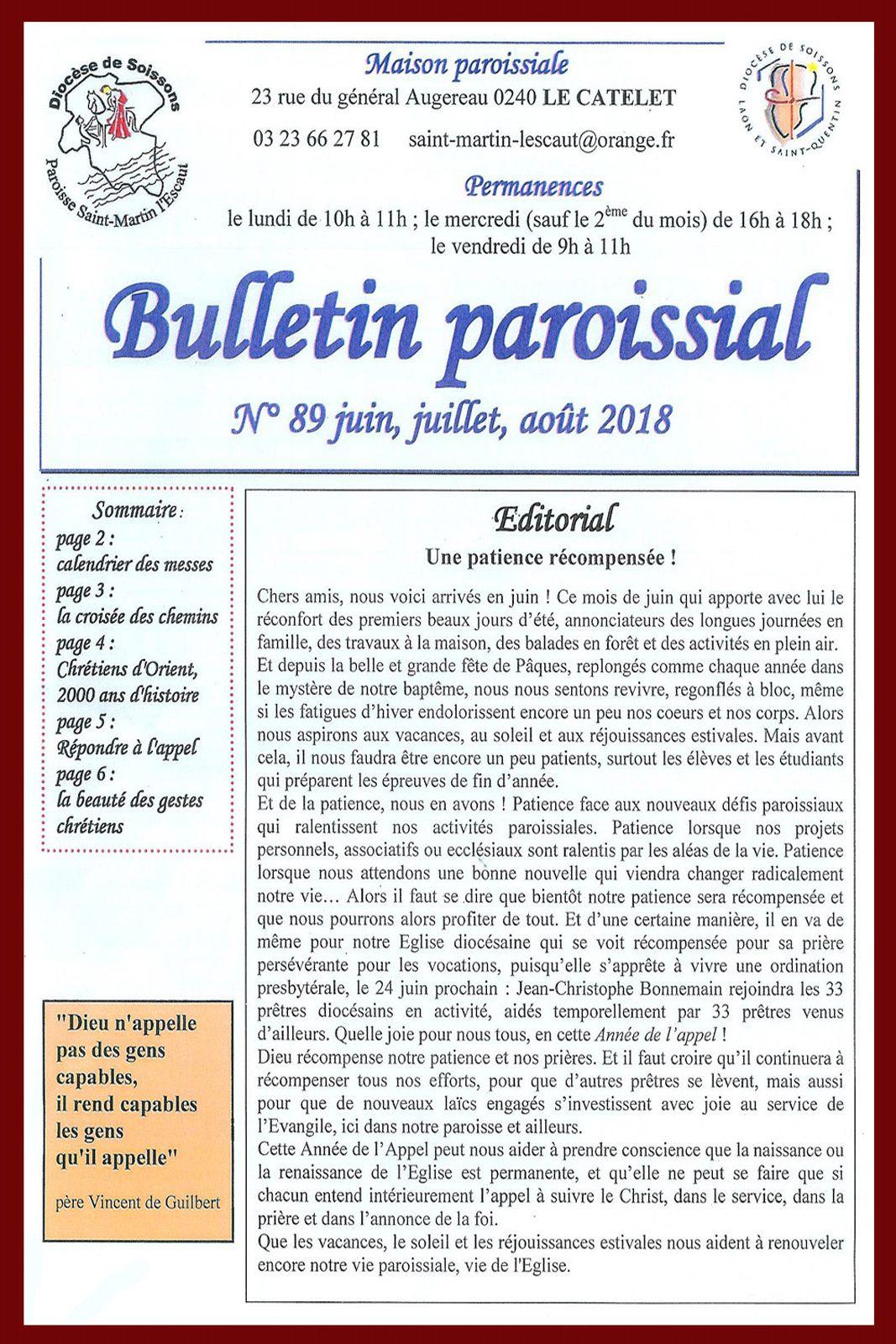 Bulletin paroissial N° 89 Juin, Juillet, Août 2018.