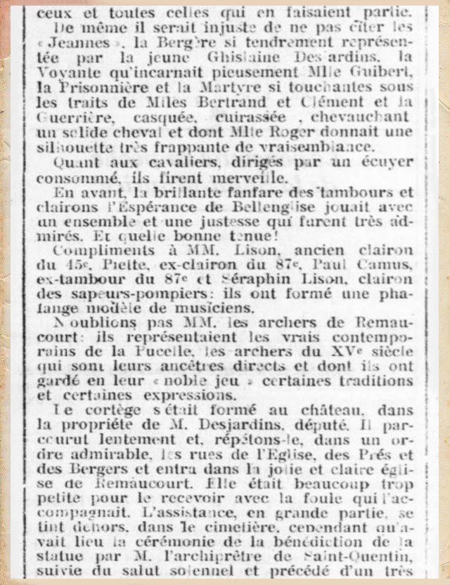 """Quand le journal de Saint-Quentin fait sa """"une"""" sur la Procession de Remaucourt en Octobre 1912."""