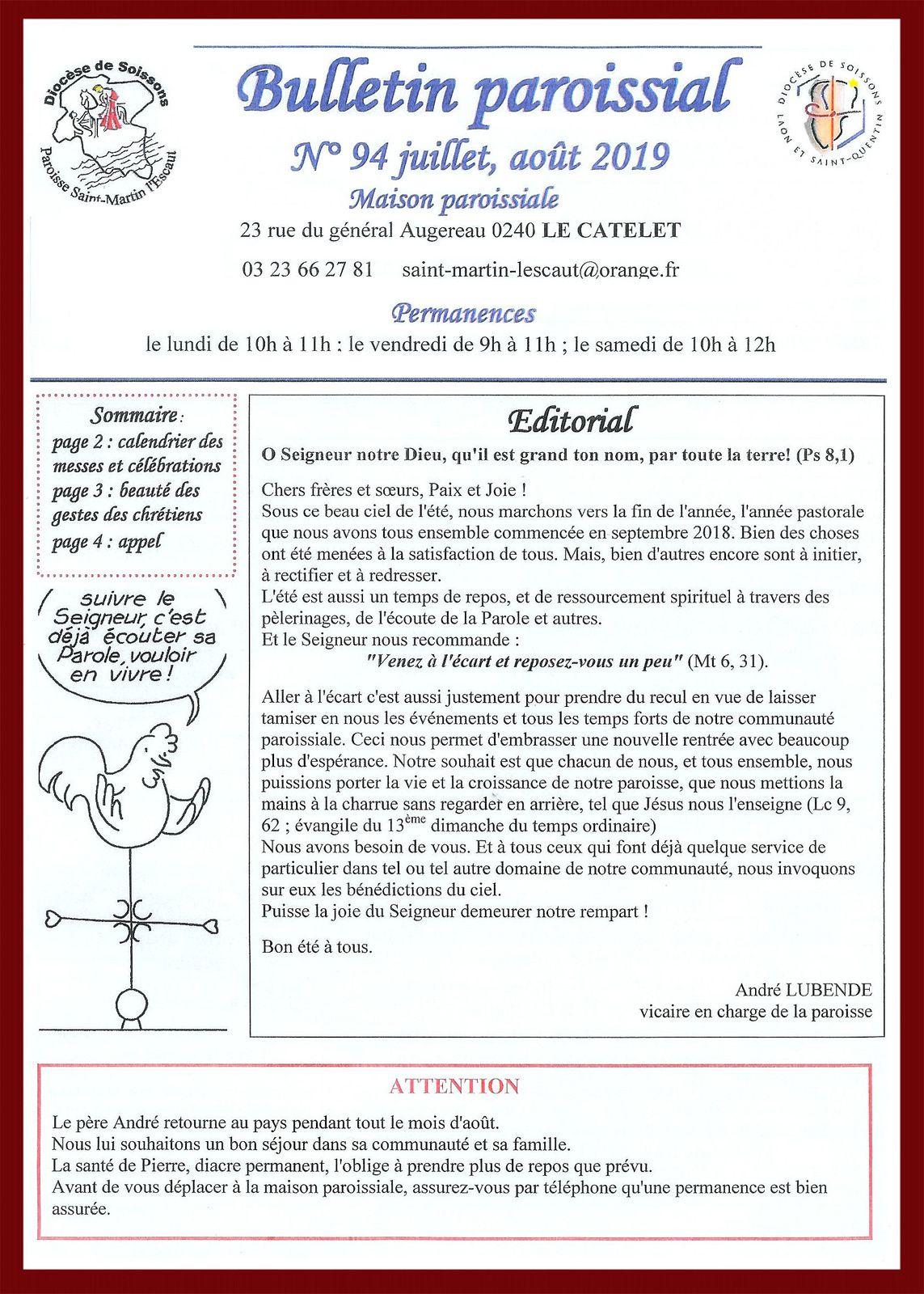 Bulletin paroissial n° 94- Juillet et Août 2019.