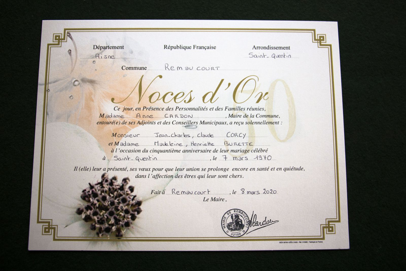 Célébration de Noces d'Or à Remaucourt.