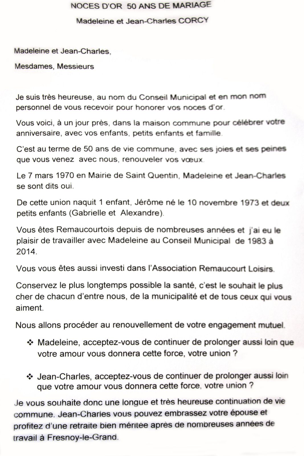 Célébration de Noces d'Or à Remaucourt.