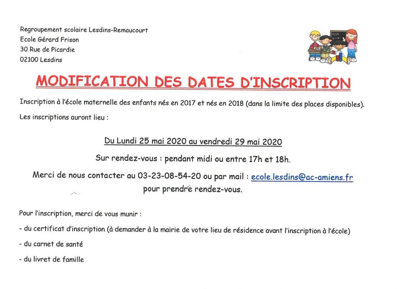 Info Mairie: regroupement scolaire Lesdins-Remaucourt.