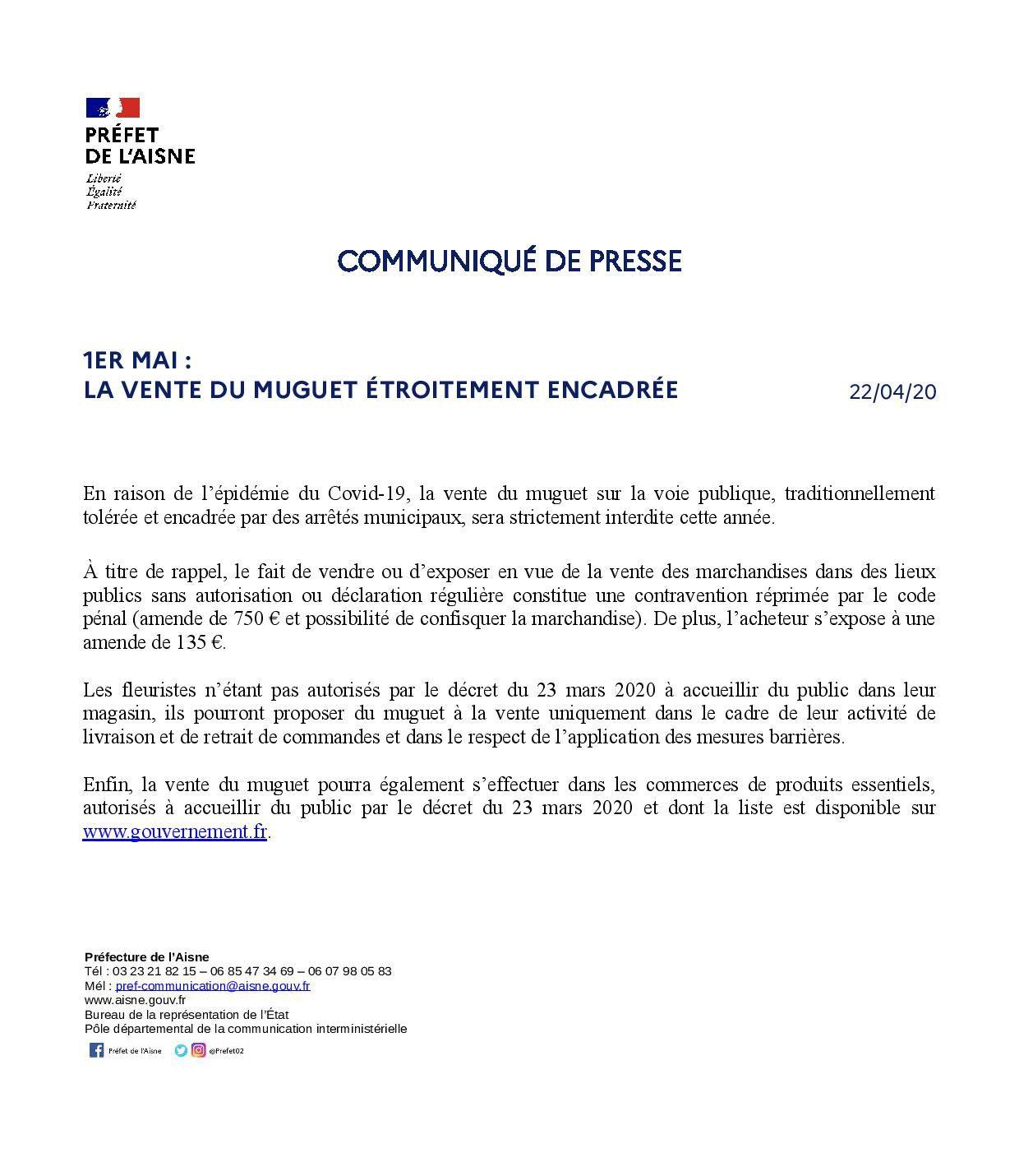 Info Mairie: communiqué de presse Préfet de l'Aisne.
