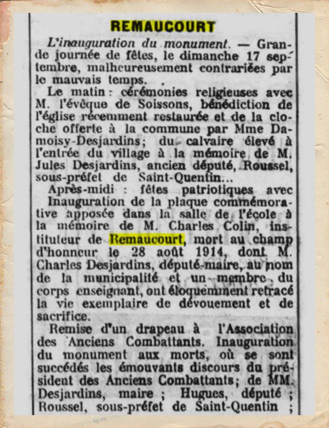 Article du Guetteur du 27 septembre 1922.