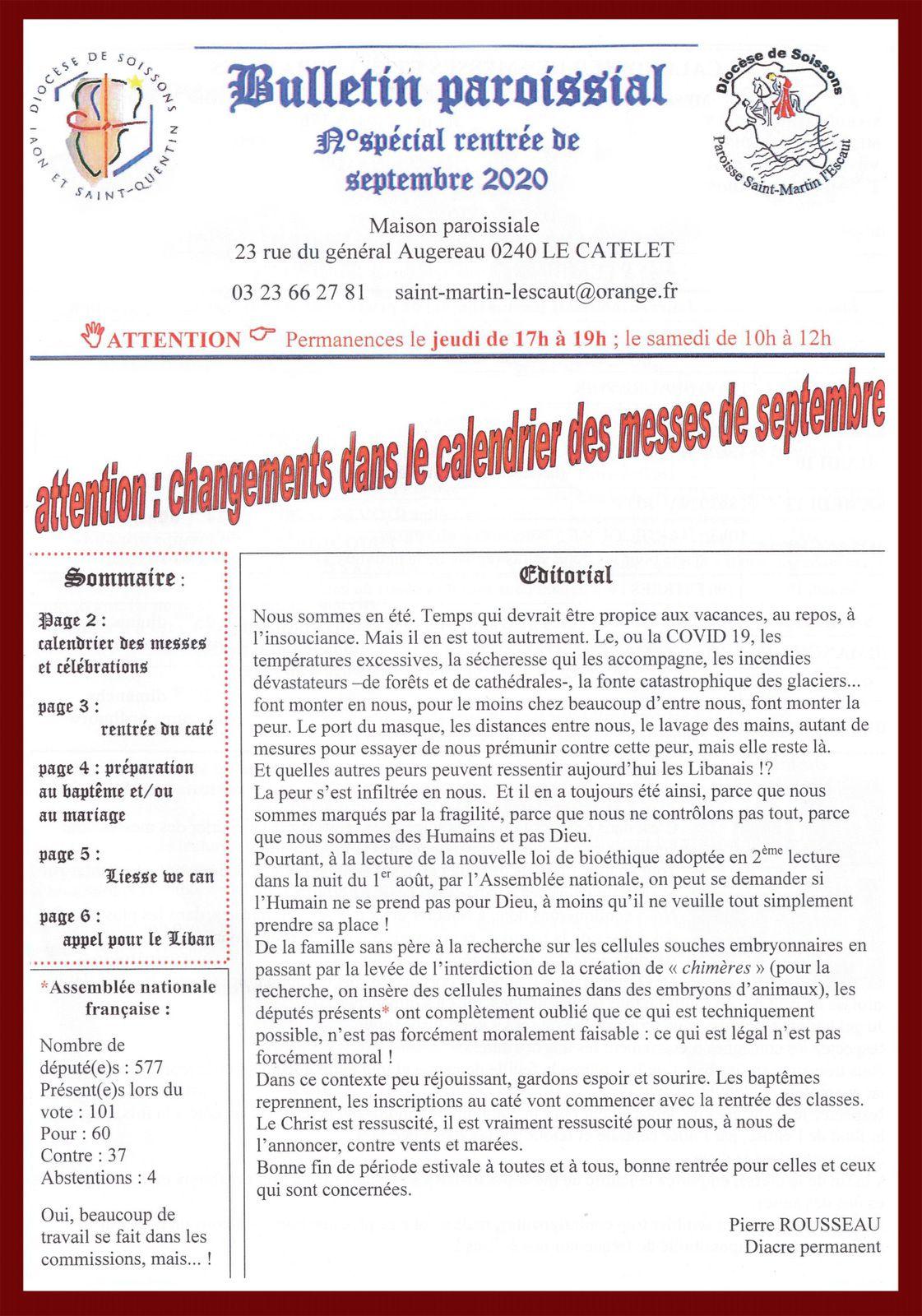 Bulletin Paroissial n° spécial rentrée septembre 2020.