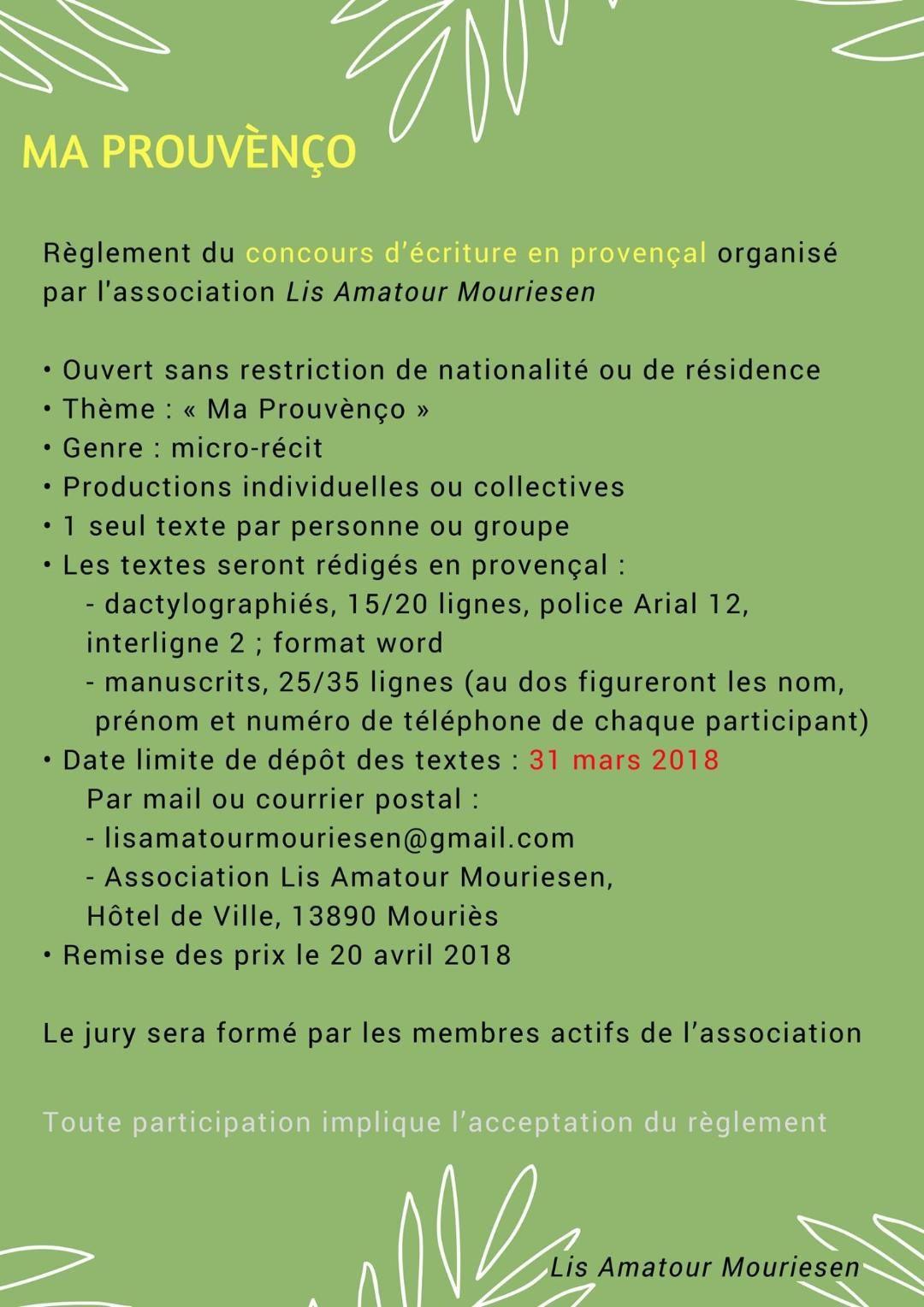 Concours d'écriture en Provençal