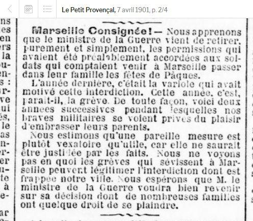 7 avril 1901 dèjà confinés