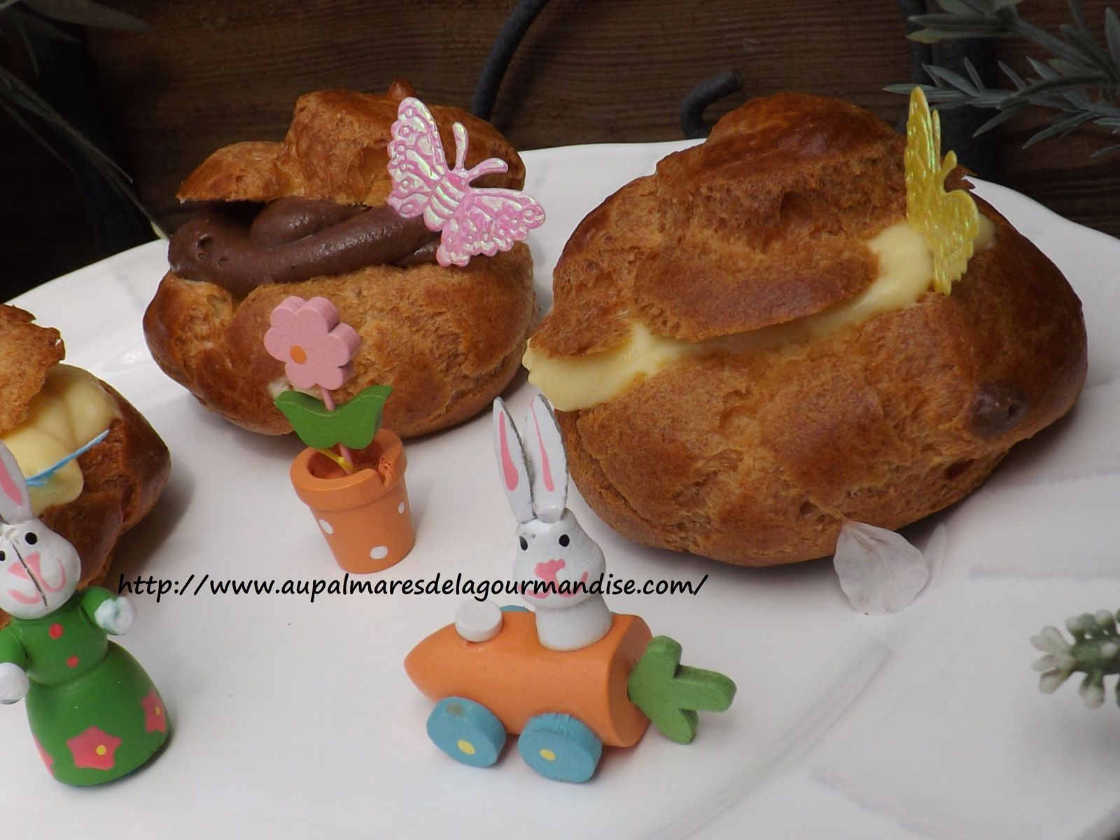 Petits choux de Pâques à la créme IG bas  Pâte à choux à l'huile sans beurre*