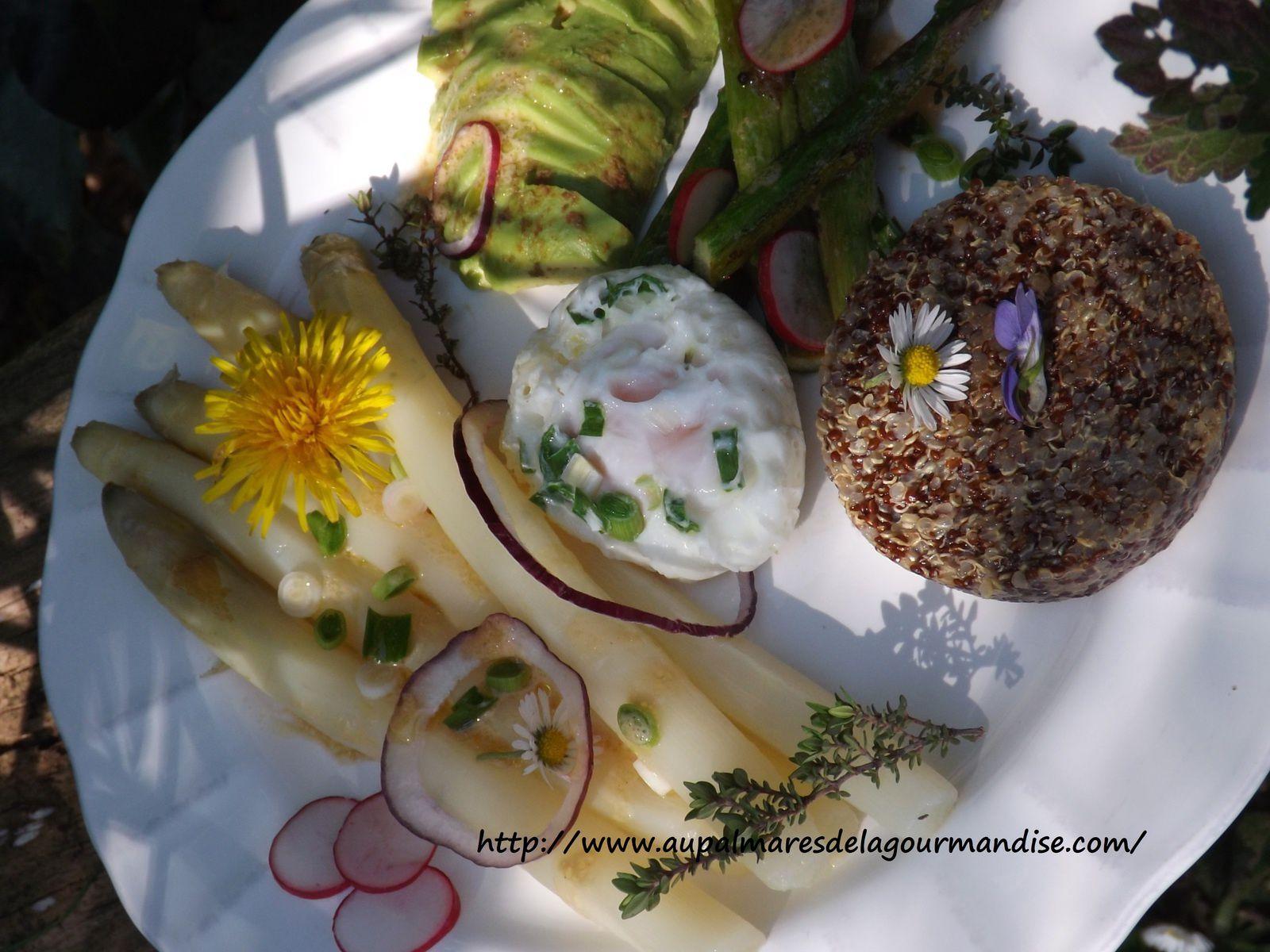 Assiette bucolique de légumes de printemps,quinoa poélé Sabarot et son oeuf poché
