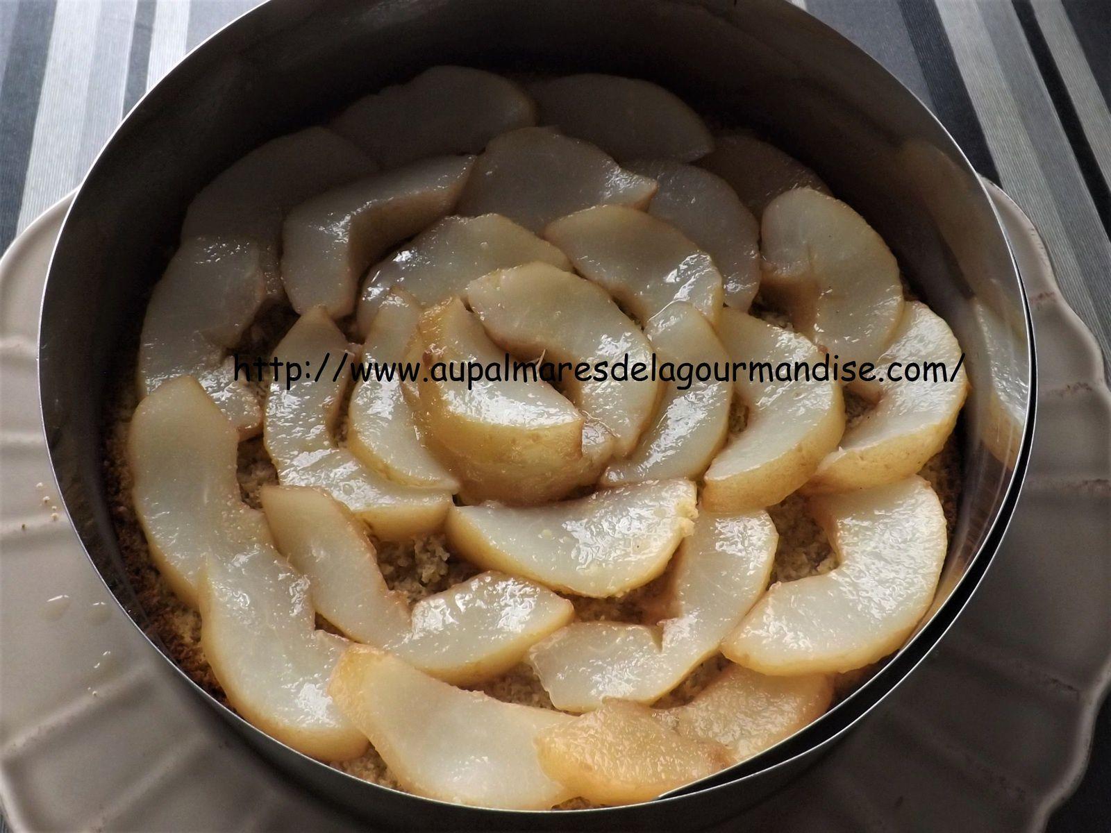 Délicieux entremet aux poires,glaçage caramel beurre salé  IG bas