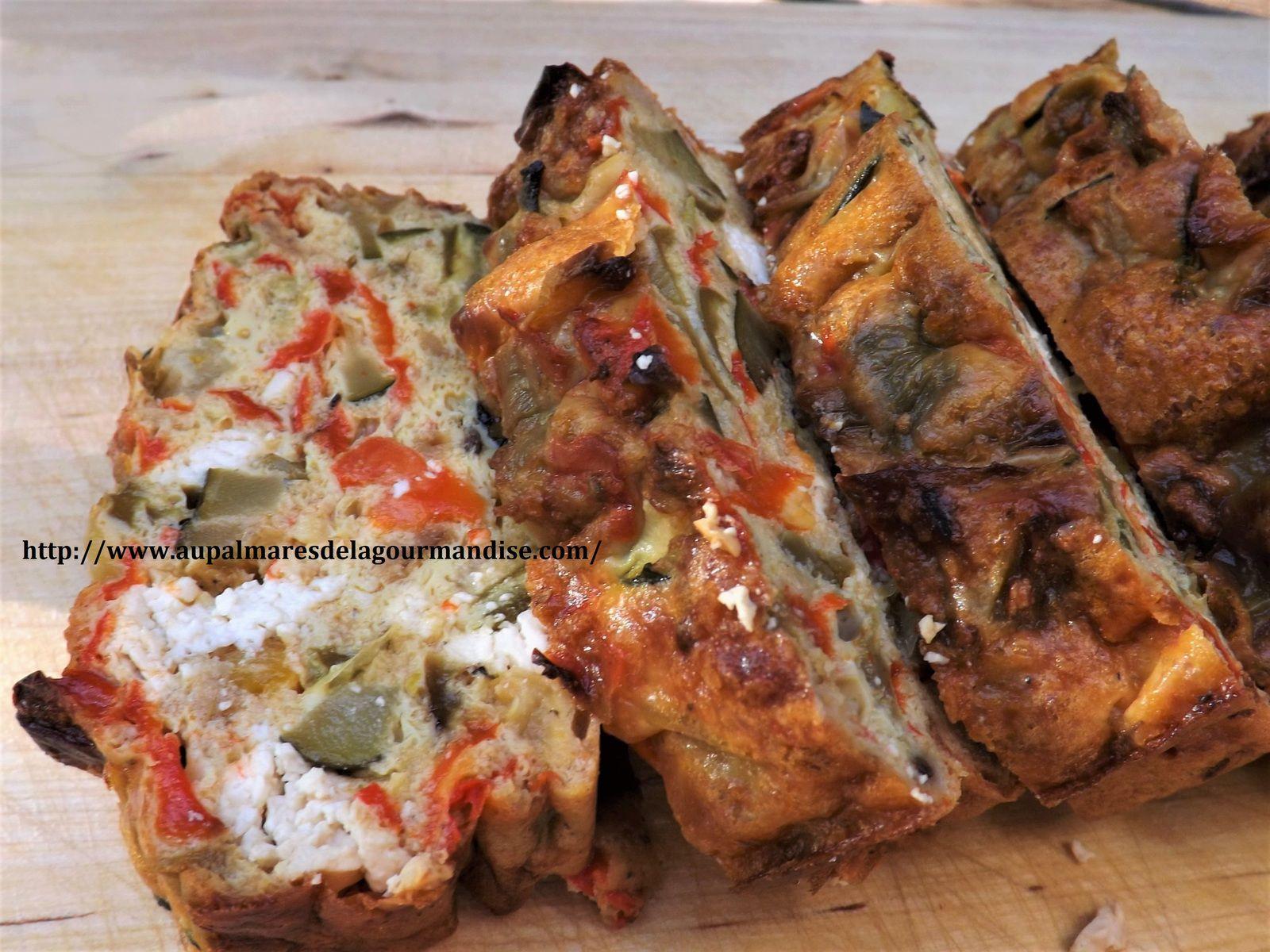 Terrine ou cake Grec, aux poivrons,courgettes,féta et menthe  WW * IGBas* Healthy*