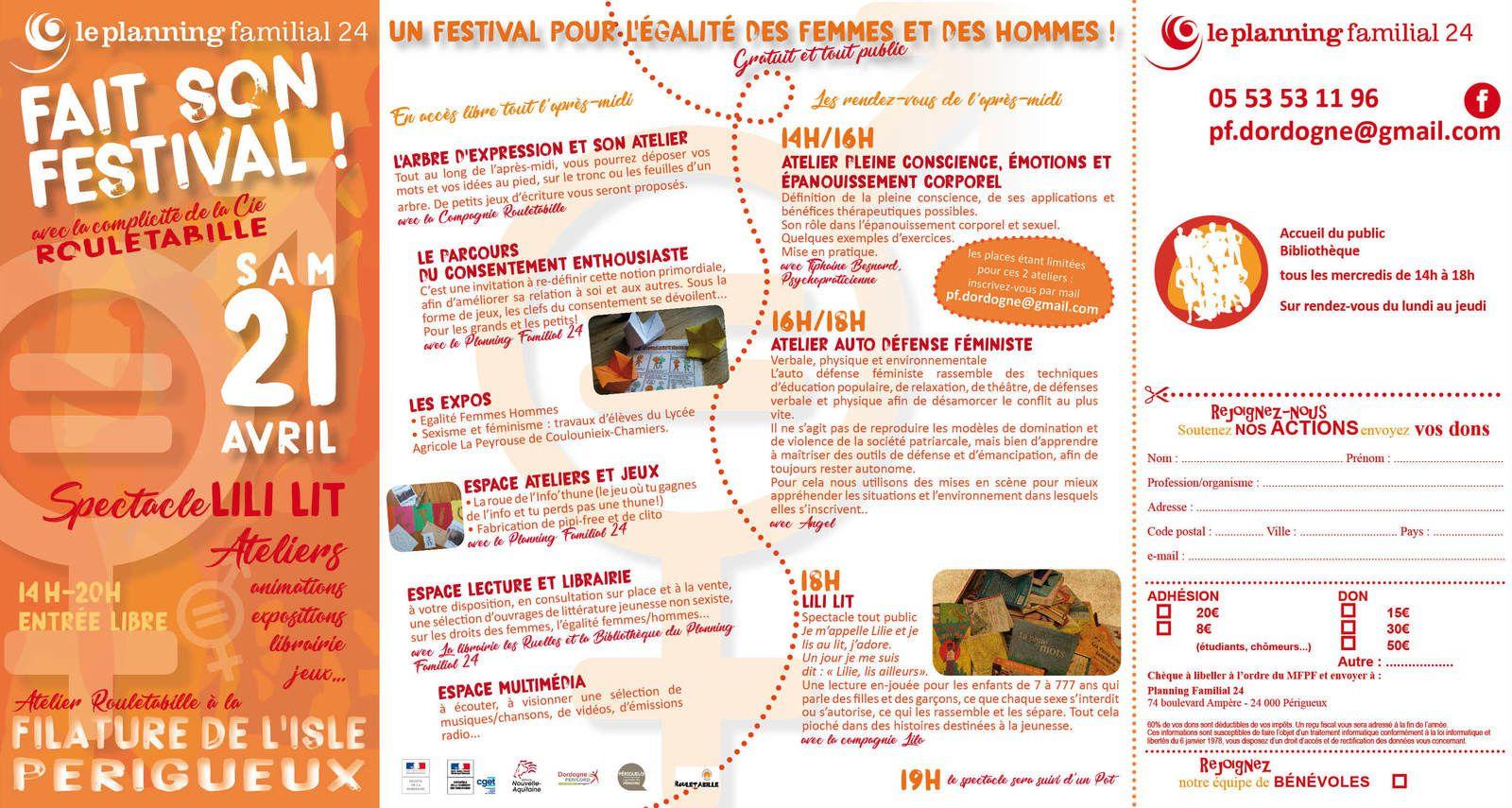 Festival du Planning Familial 24  avec la complicité de Rouletabille