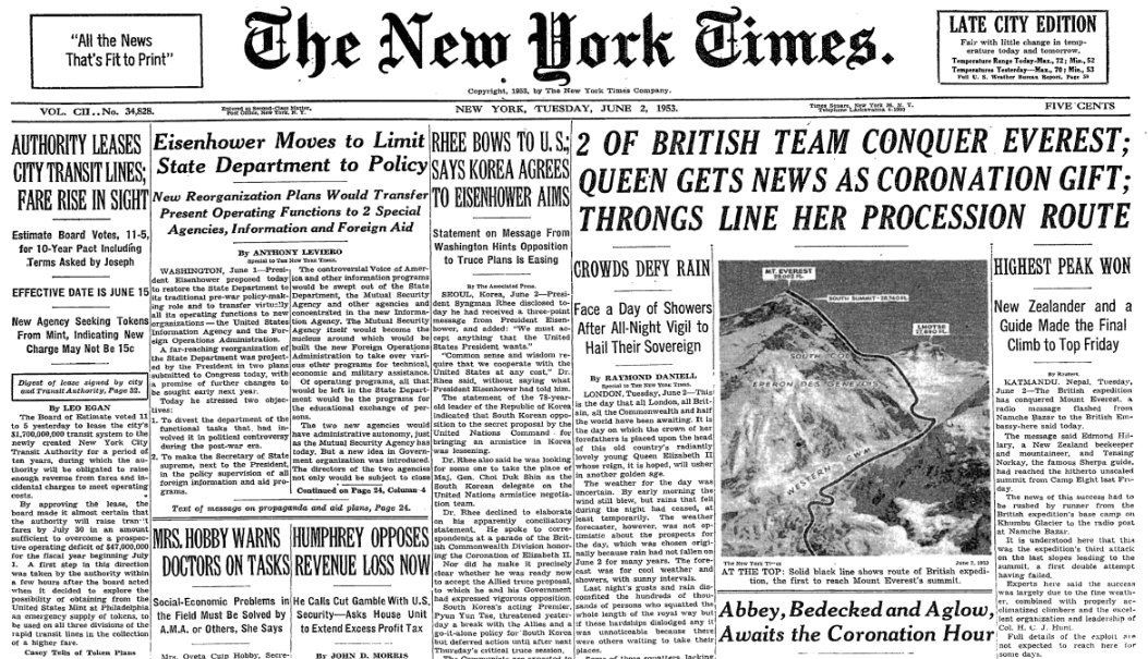 Sir Edmund Hillary, Tenzing Norgay, The New York Times