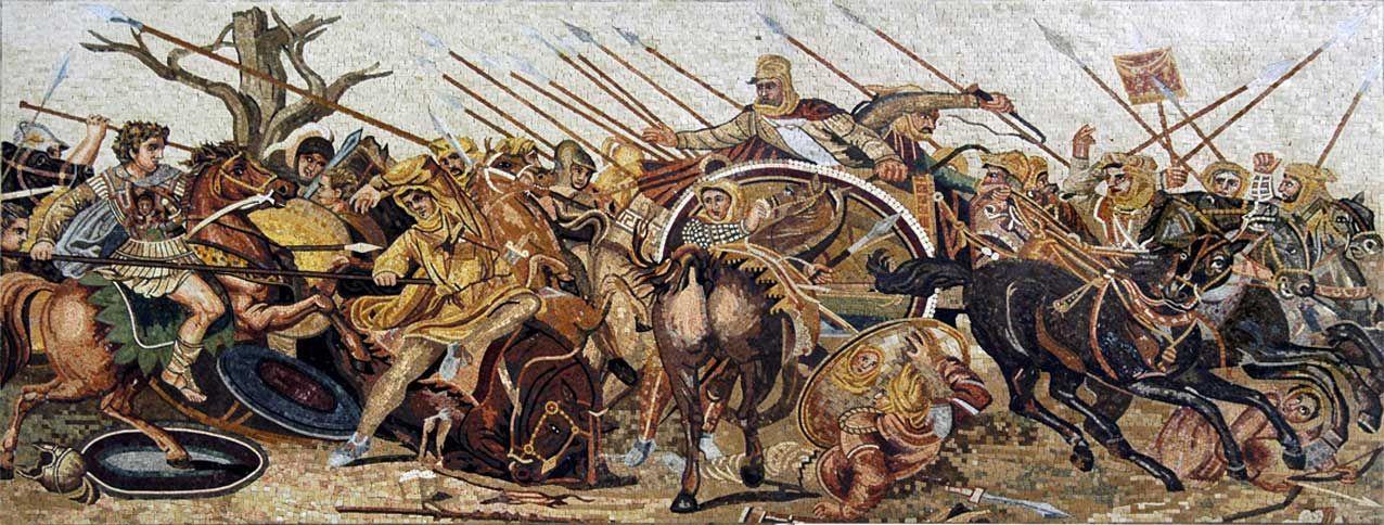 Reconstitution complète de la mosaïque de la bataille d'Issos, entre Alexandre et Darius, dans la Maison de la Faune à Pompéi