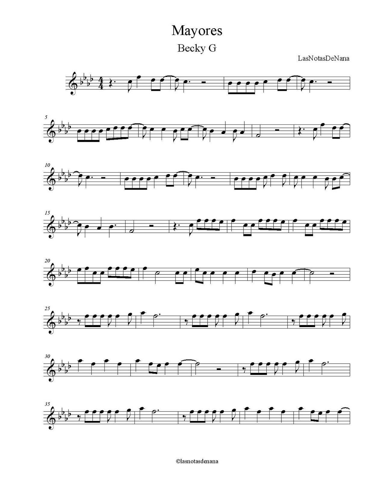 "Partitura de la Canción ""Mayores"" | Becky G"