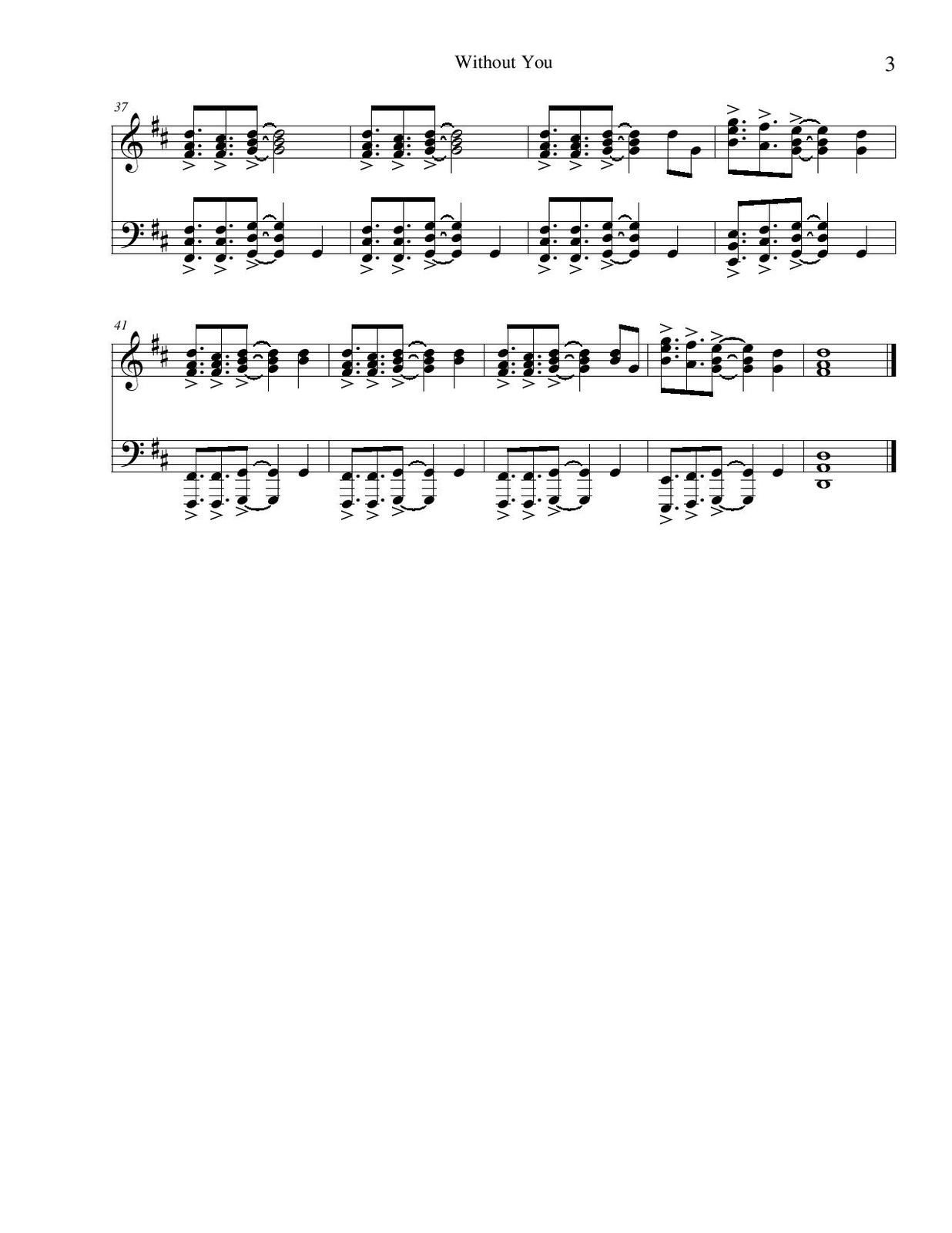 "Partitura para Piano ""Without You"" 