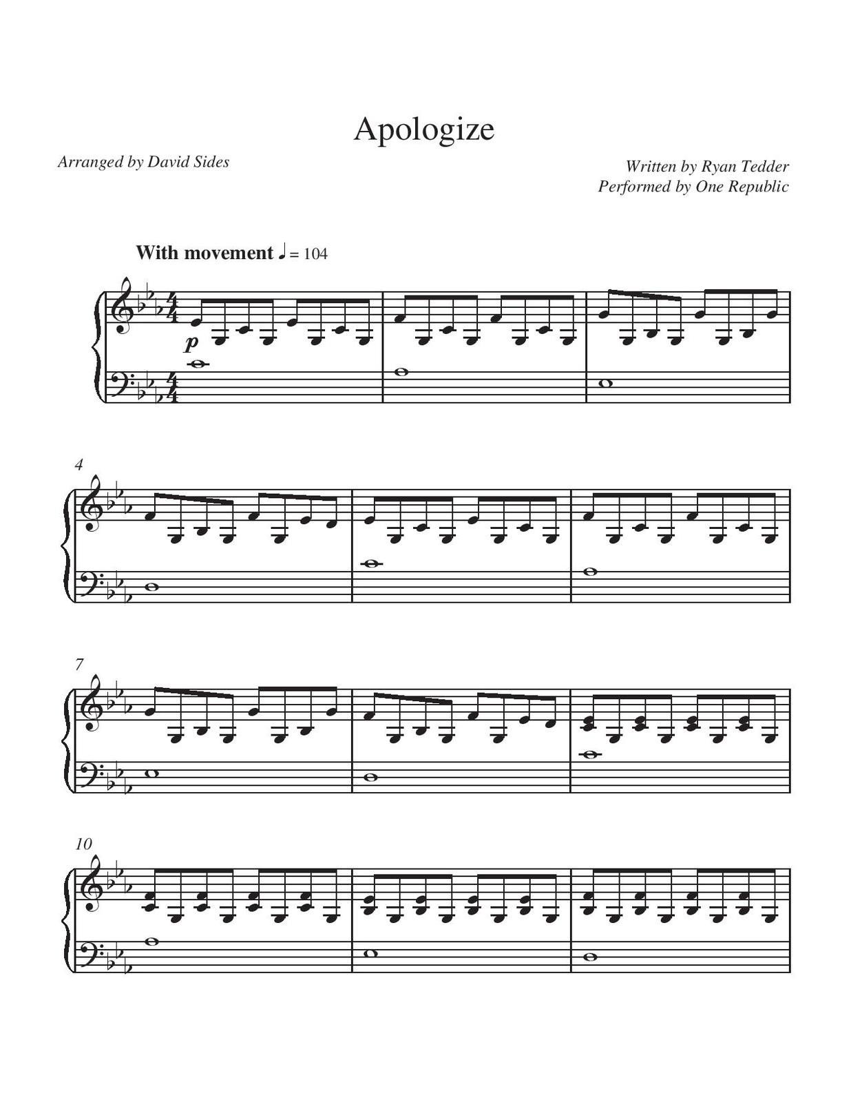 "Partitura para Piano ""Apologize"" 