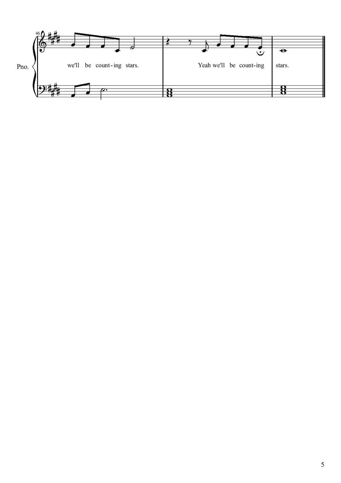 "Partitura para Piano ""Counting Stars"" 