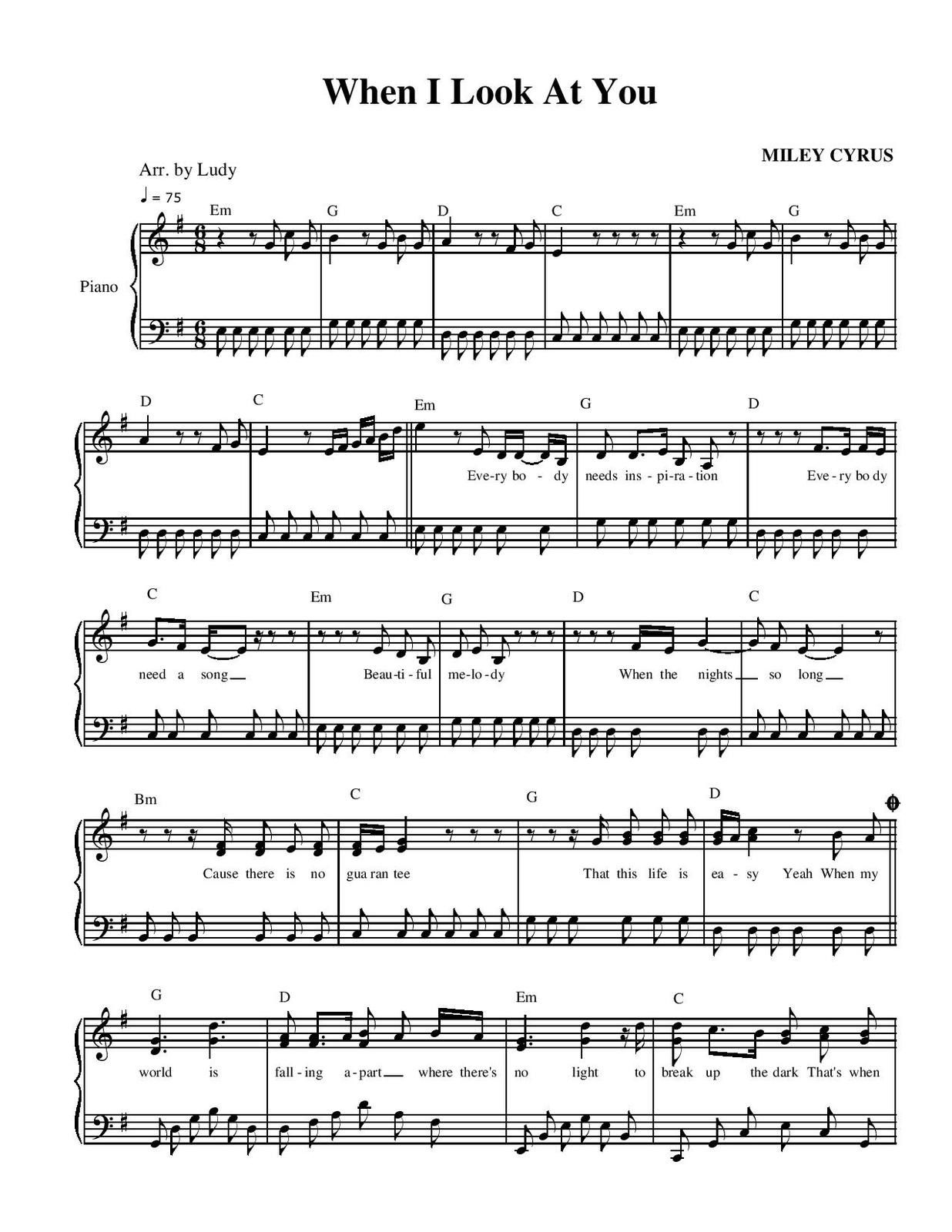 "Partitura para Piano ""When I Look At You"" 