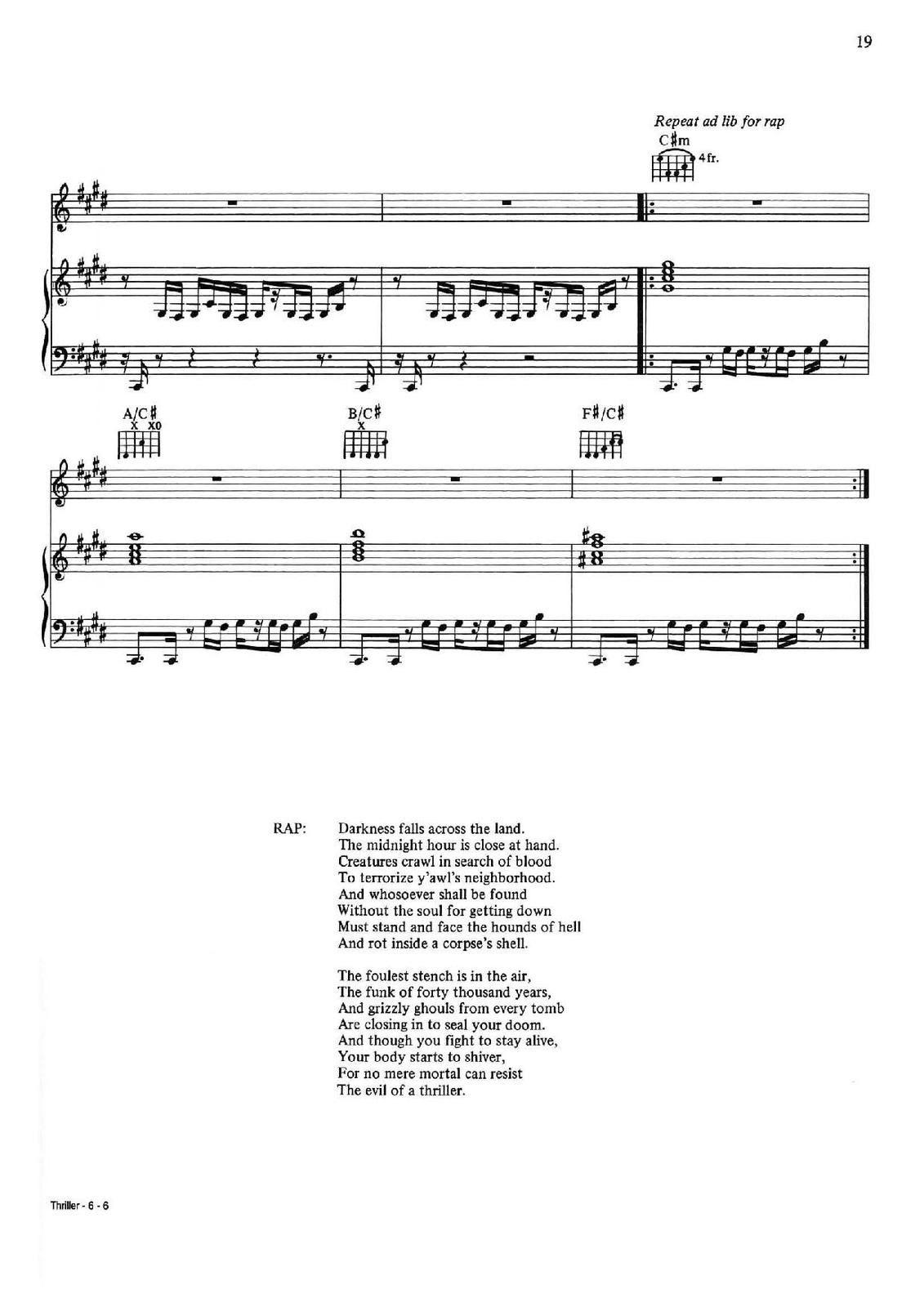 "Partitura para Piano ""Thriller"" | Michael Jackson"