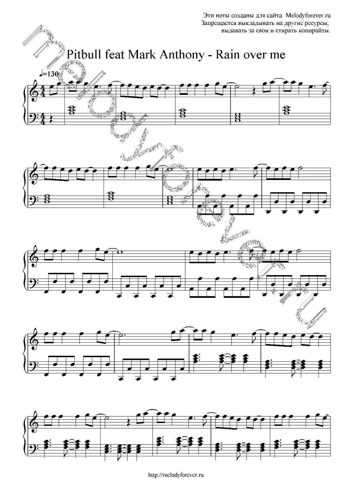 "Partitura para Piano ""Rain Over Me"" | Mark Anthony ft Pitbull"