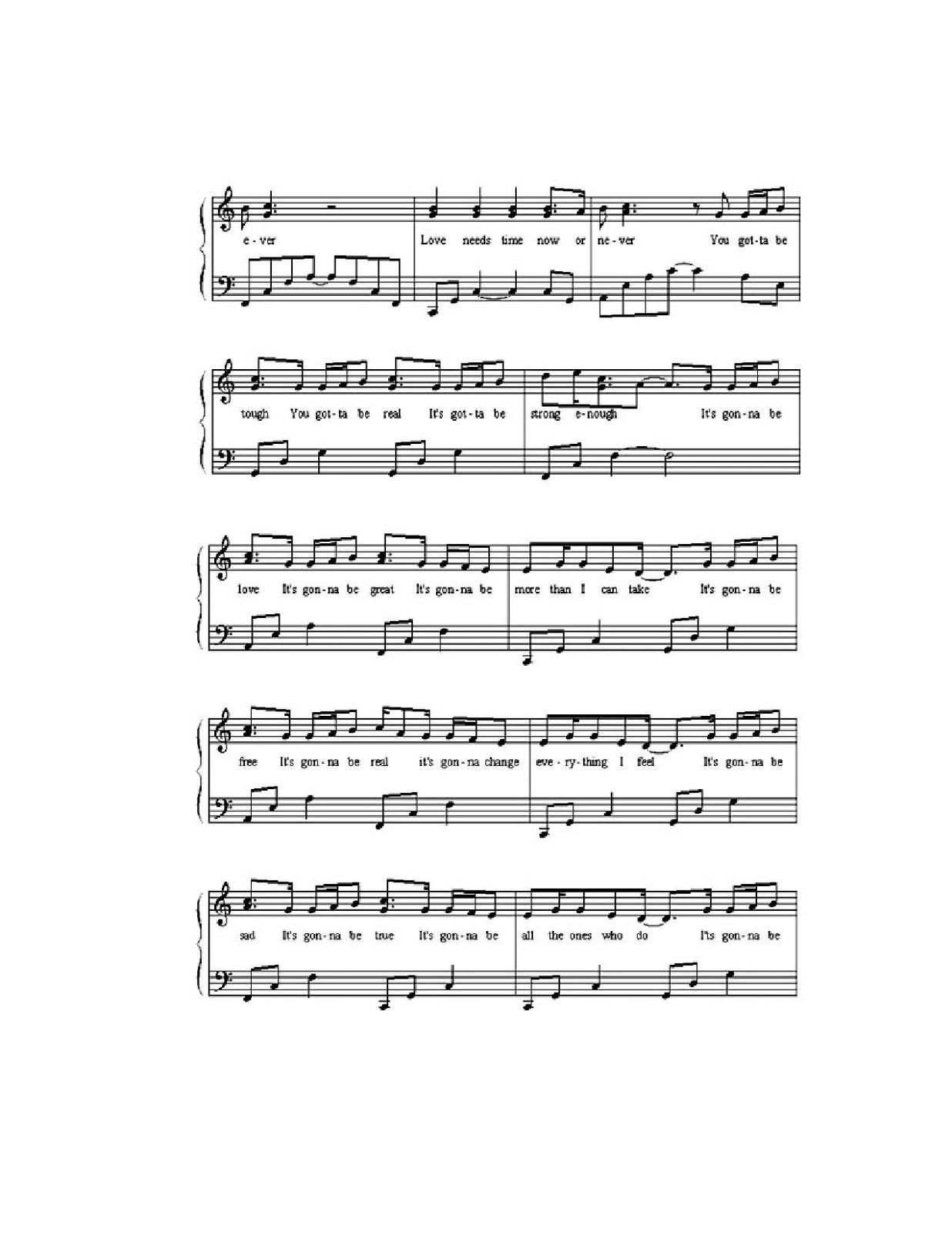 "Partitura para Piano ""It's Gonna Be Love"" 