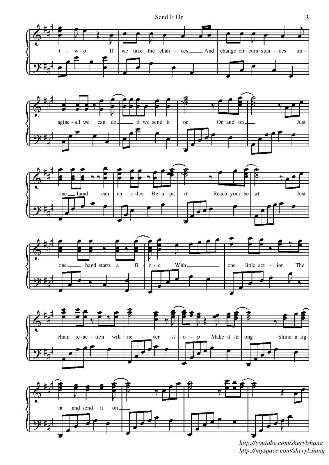 "Partitura para Piano ""Send It On"" 