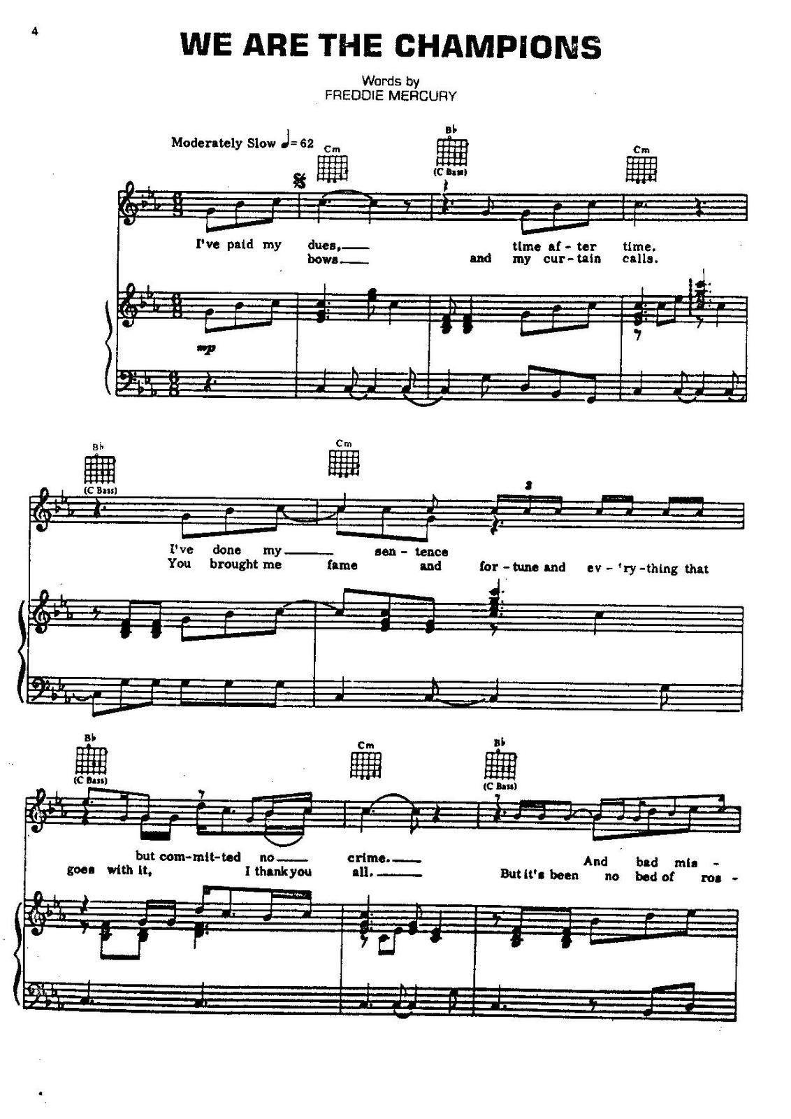 "Partitura para Piano ""We Are The Champions"" 