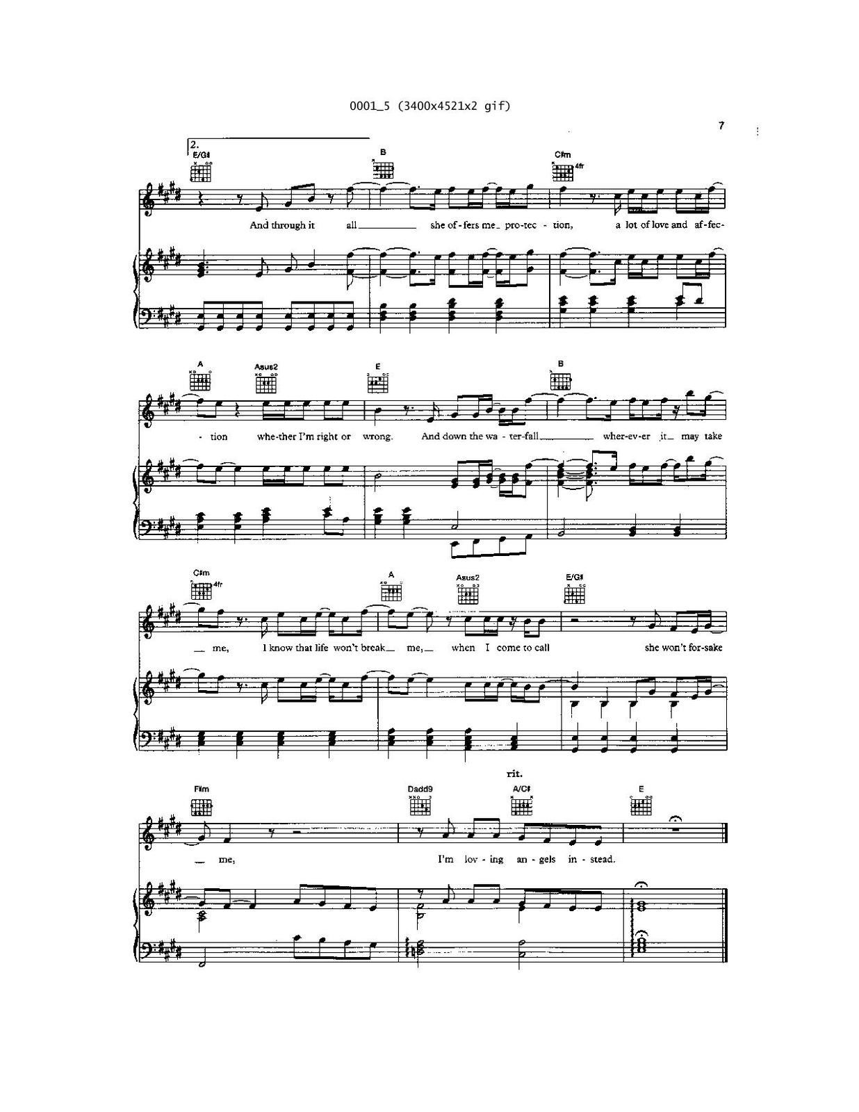 "Partitura para Piano ""Angels"" 