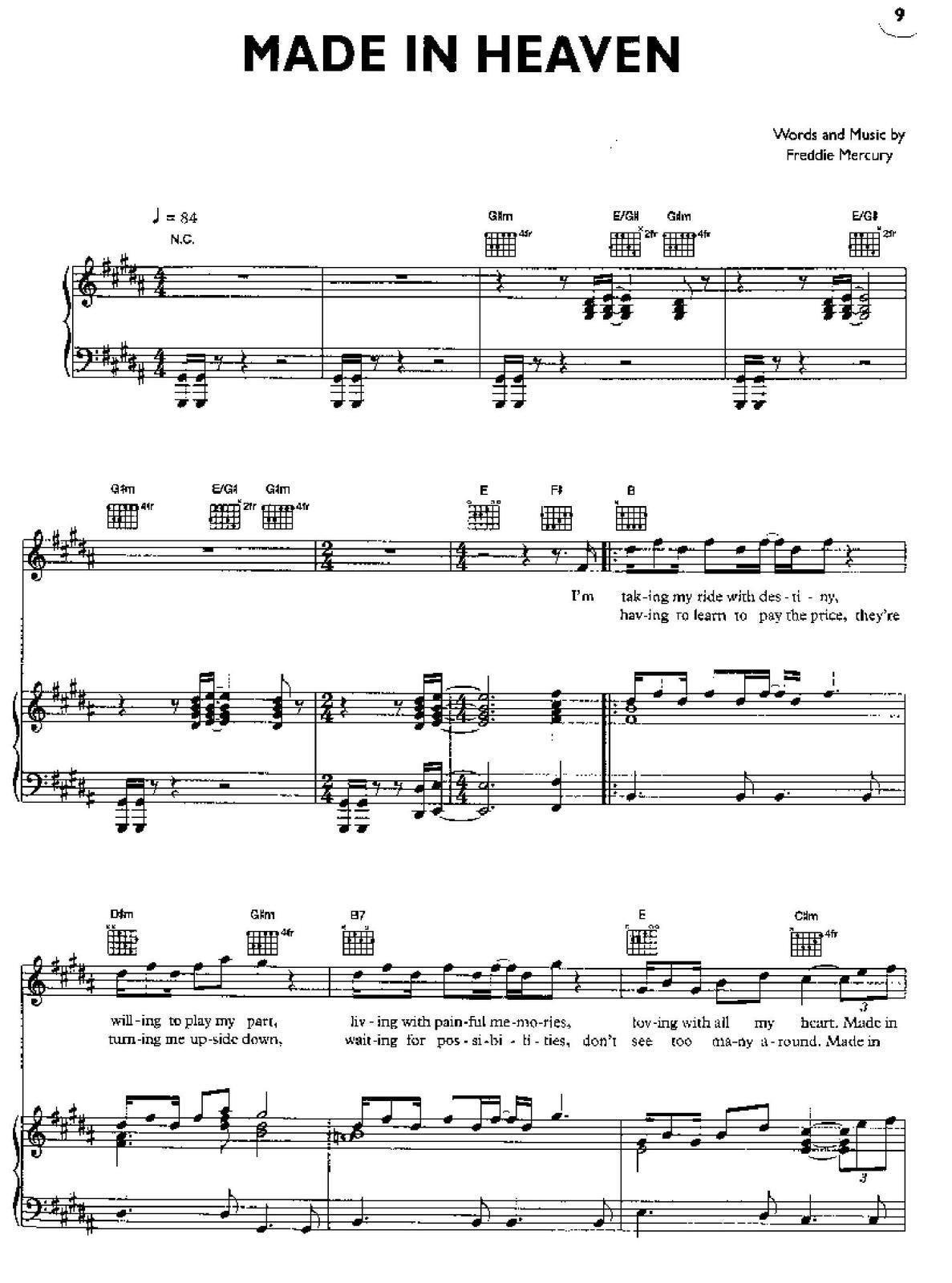 "Partitura para Piano ""Made In Heaven"" 