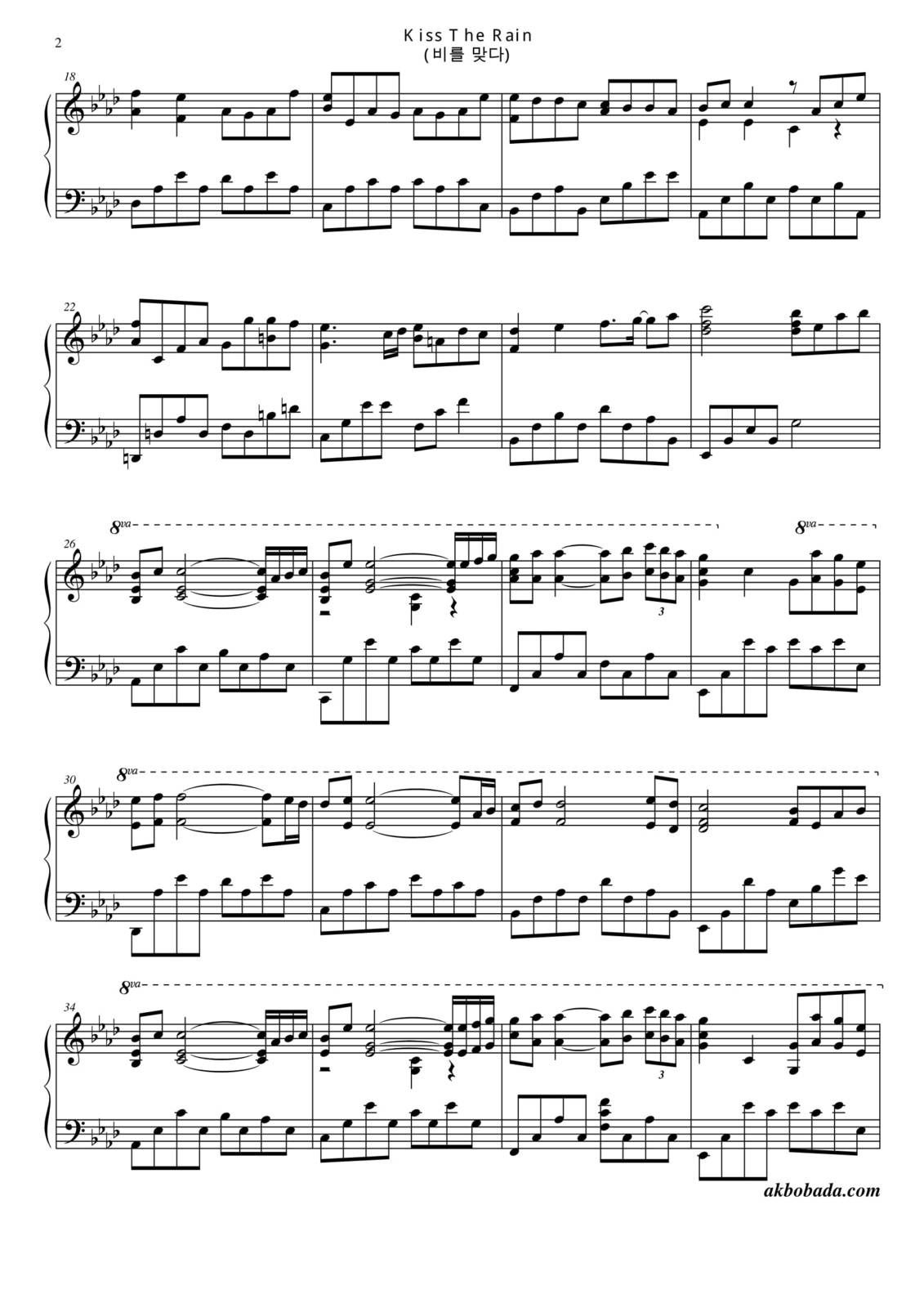 "Partitura Para Piano ""Kiss The Rain"" 