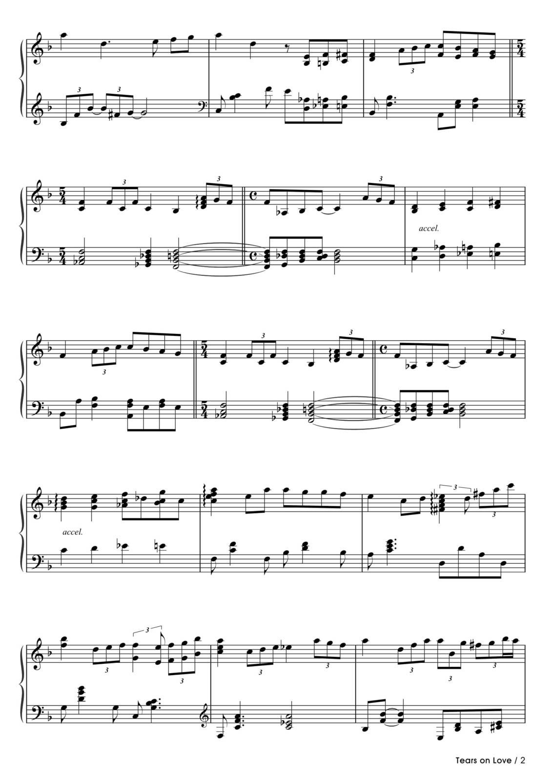 "Partitura Para Piano ""Tears On Love"" 