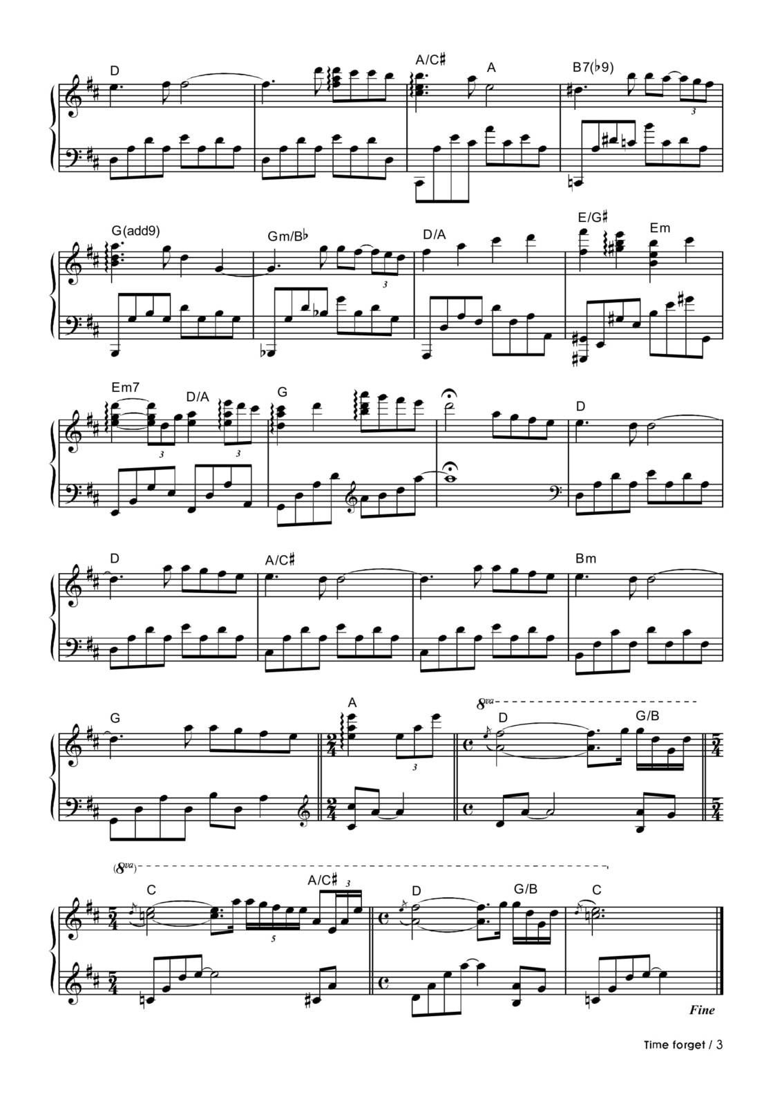 "Partitura Para Piano ""Time Forget"" 
