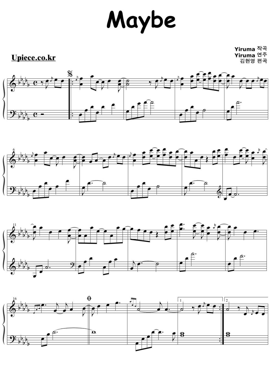 "Partitura Para Piano ""Maybe"" 