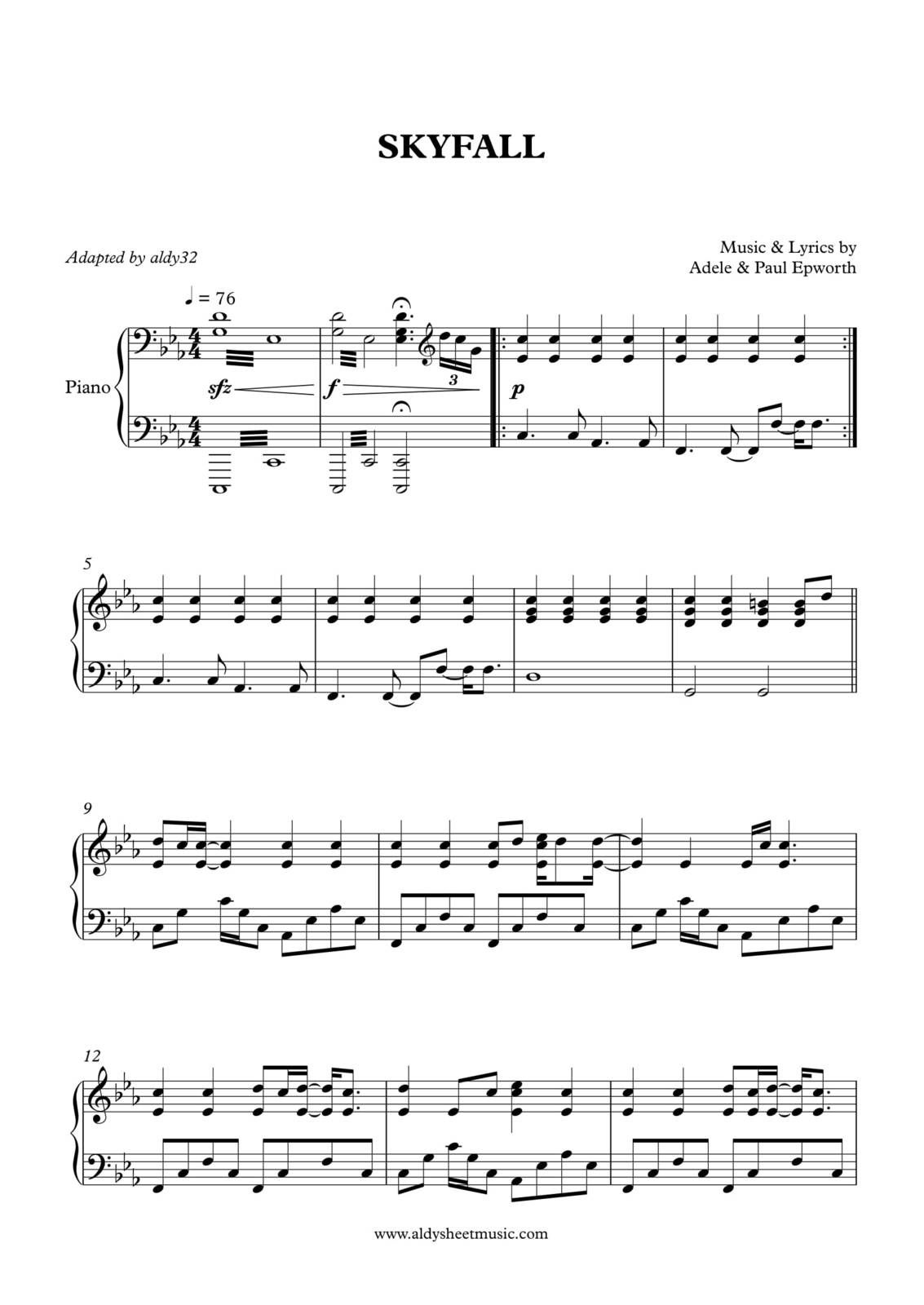 "Partitura Para Piano ""Skyfall"" | Adele"