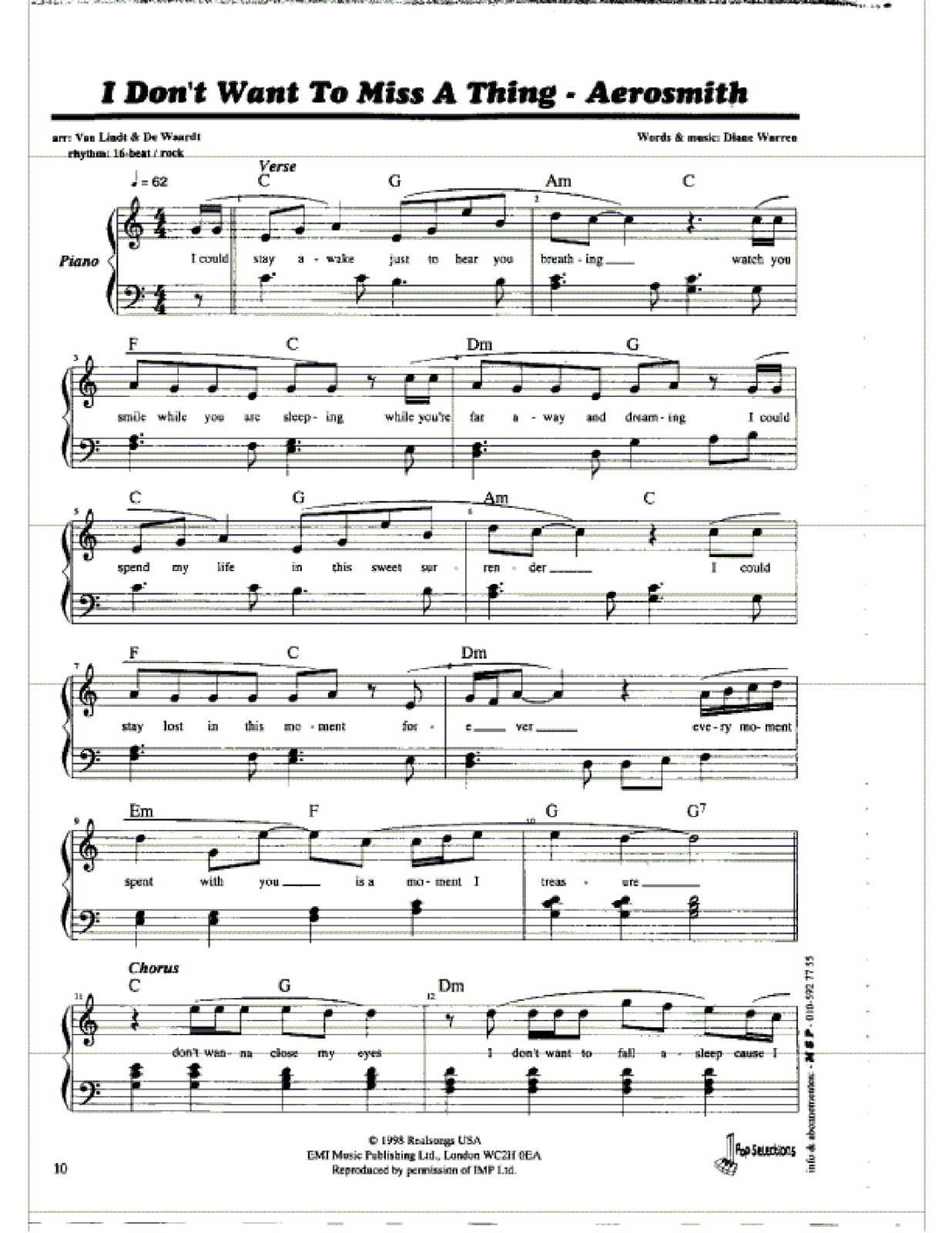 "Partitura Para Piano ""I Don't Want Miss A Thing"" 