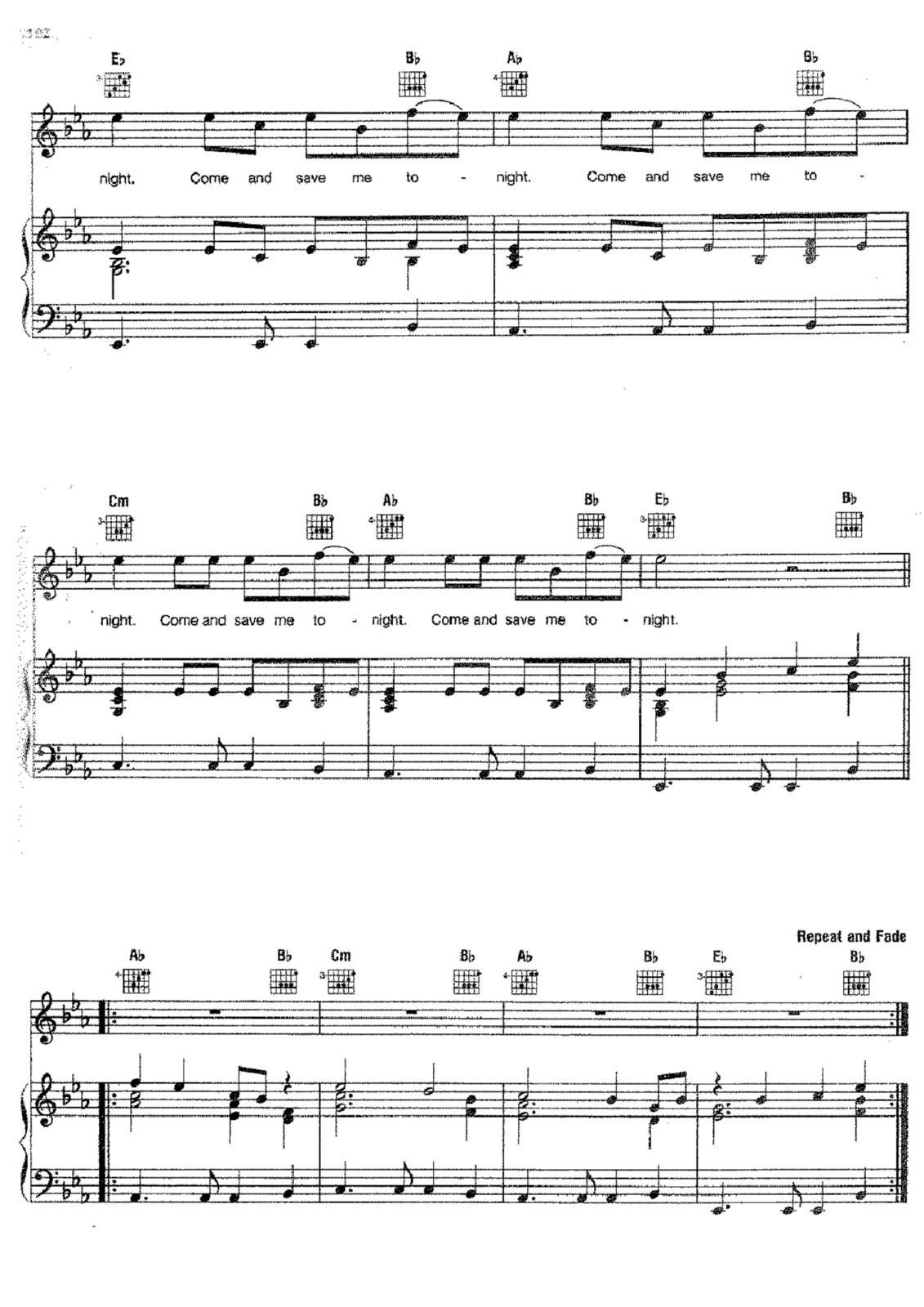 "Partitura Para Piano ""Angel"" 