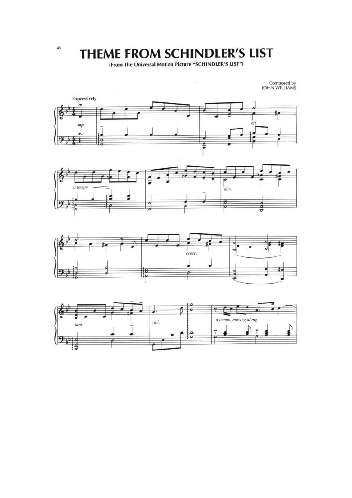 "Partitura Para Piano ""La Lista de Schidler"" 